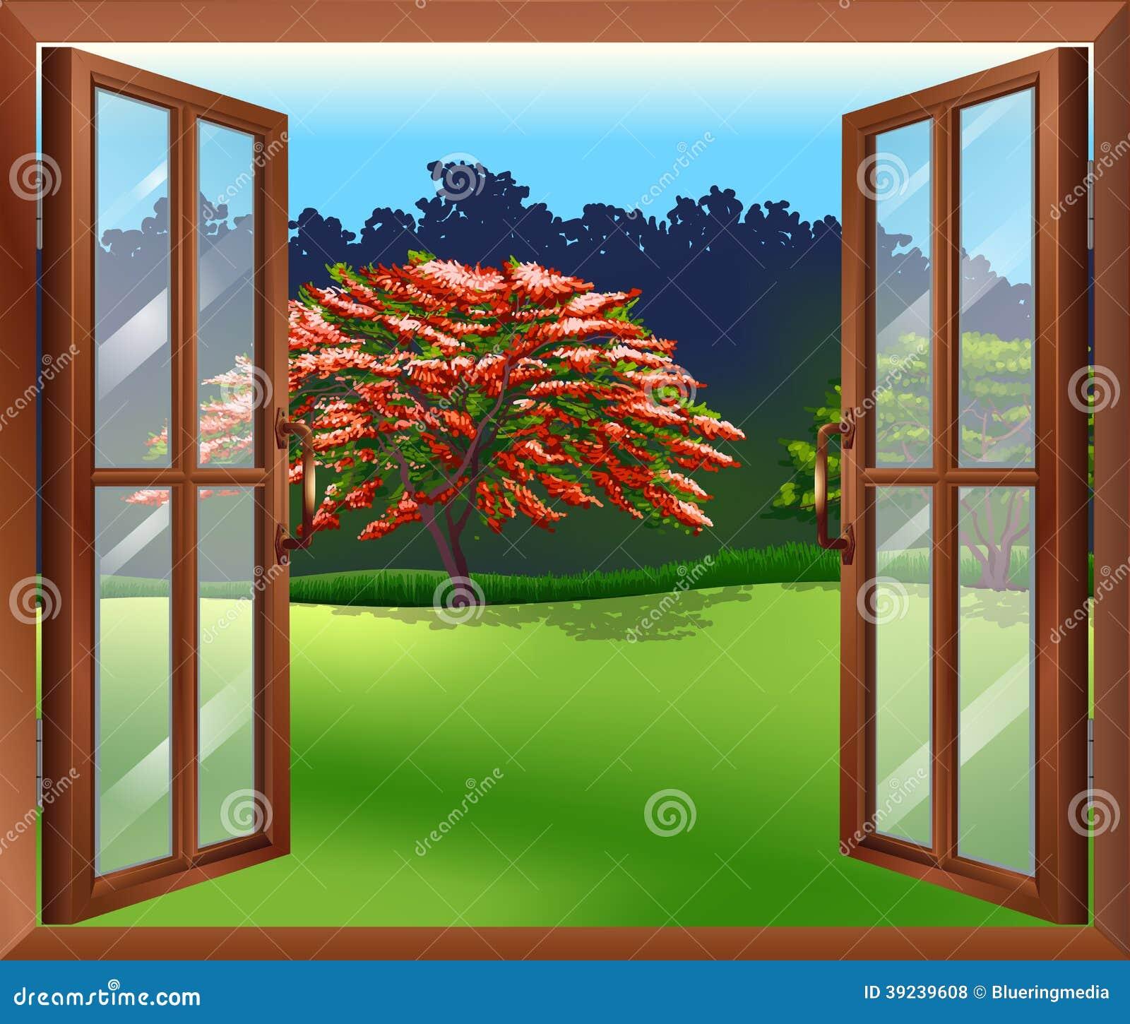 Offenes fenster  Ein Offenes Fenster Mit Blick Auf Den Großen Baum Vektor Abbildung ...