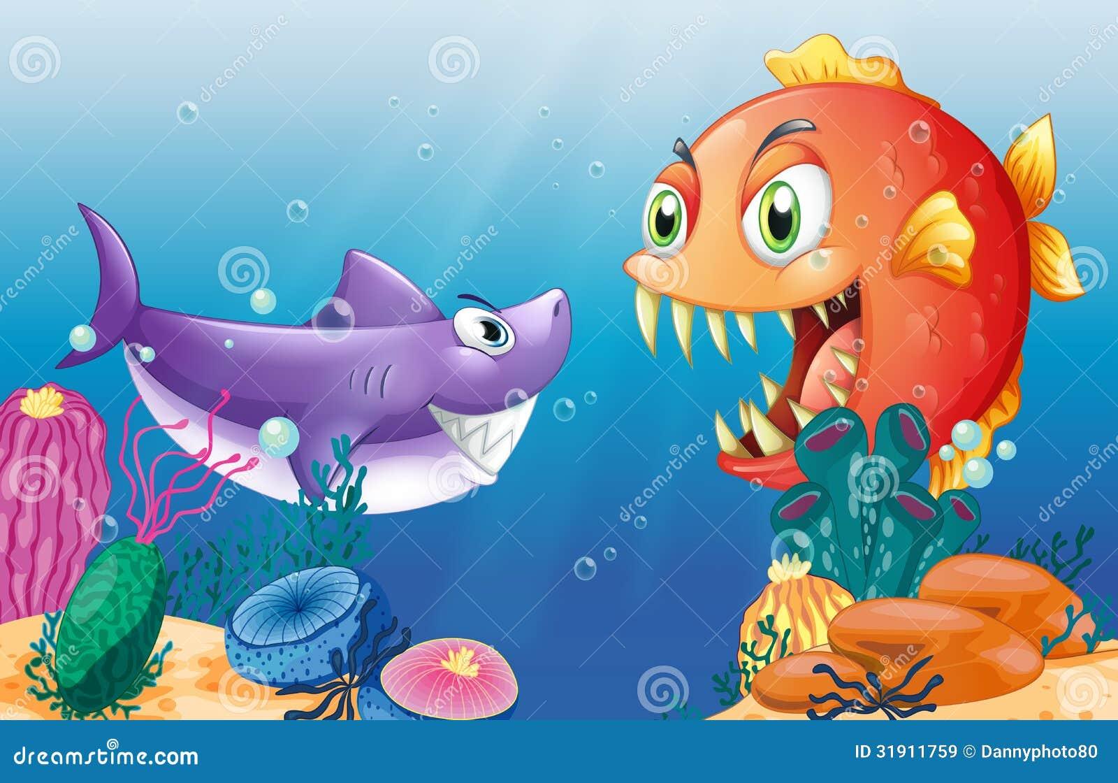 Ein Opfer und ein Fleischfresser unter dem Meer