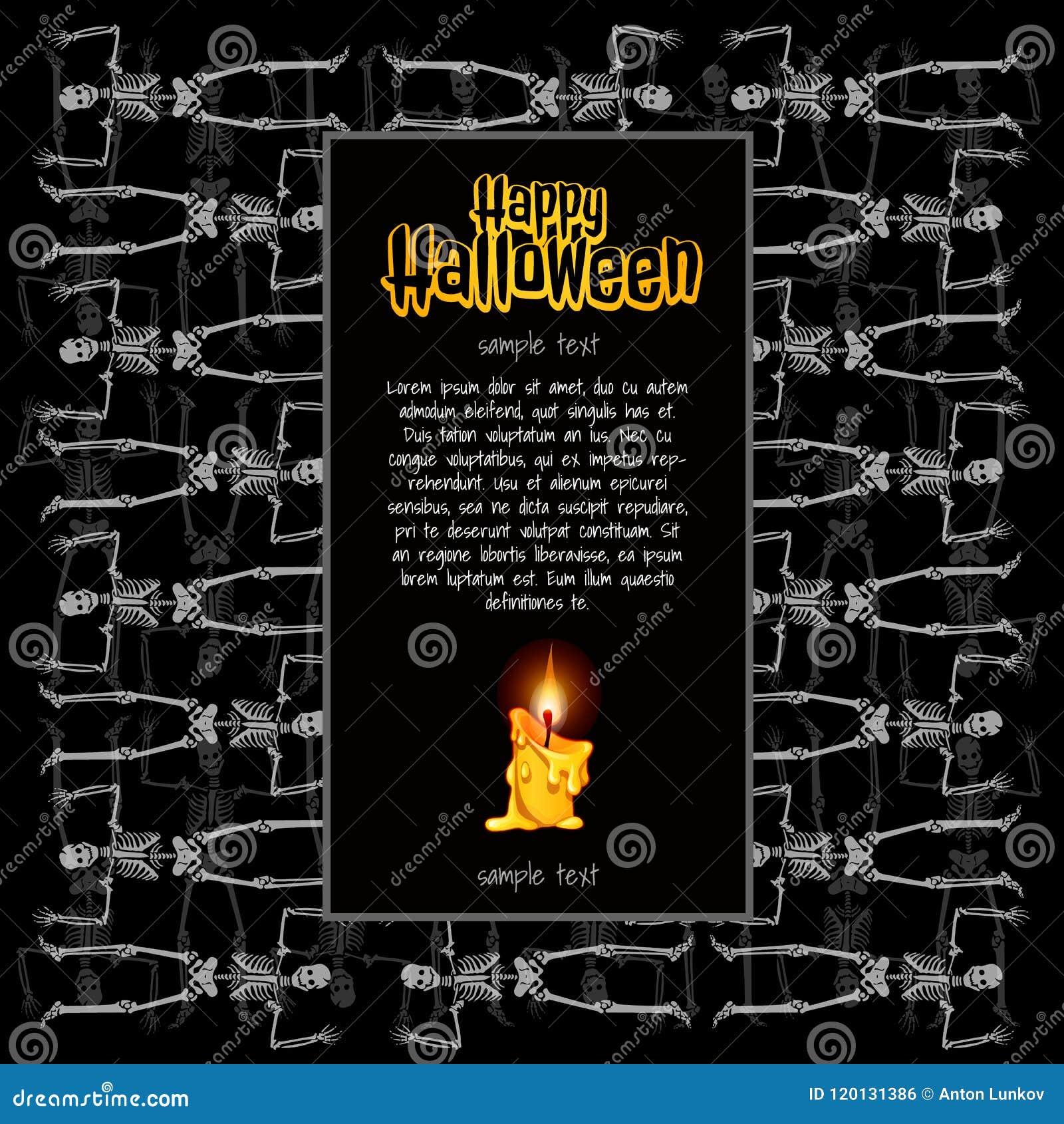 Ein Plakat auf dem Thema des Halloween-Feiertags Eine Skizze der Einladung oder anderer Karten mit Raum für Ihren Text