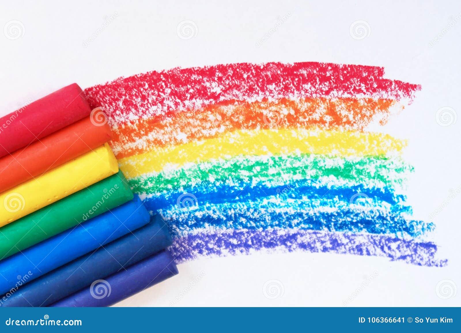 Ein Regenbogen gezeichnet mit Rotem, Orange, Gelbem, Grünem, Blauem, Indigo und purpurrote Zeichenstifte