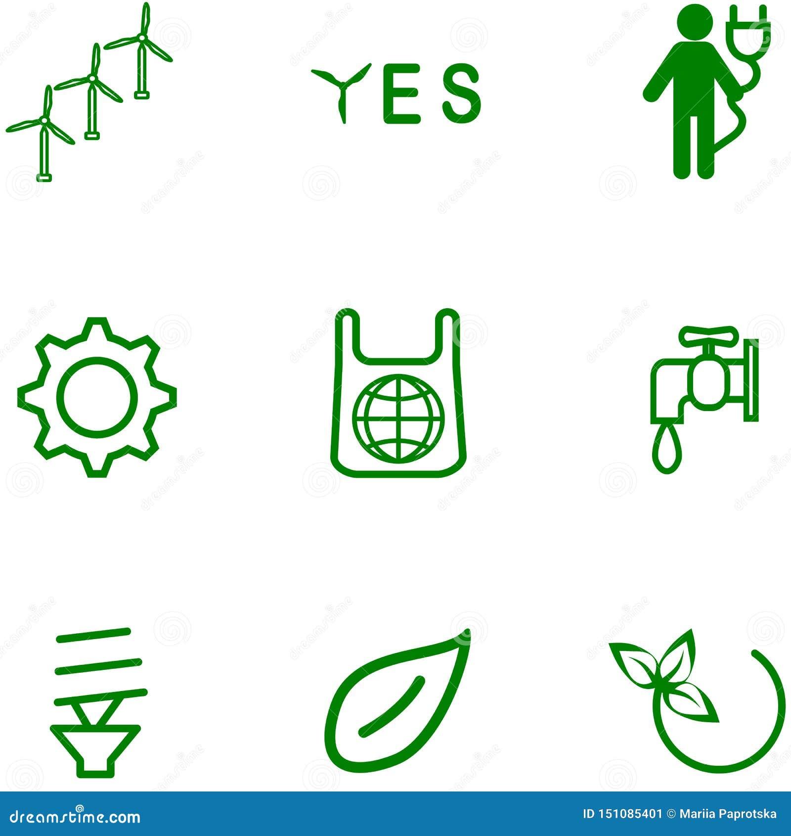 Ein Satz Ikonen auf einem Thema von Ökologie