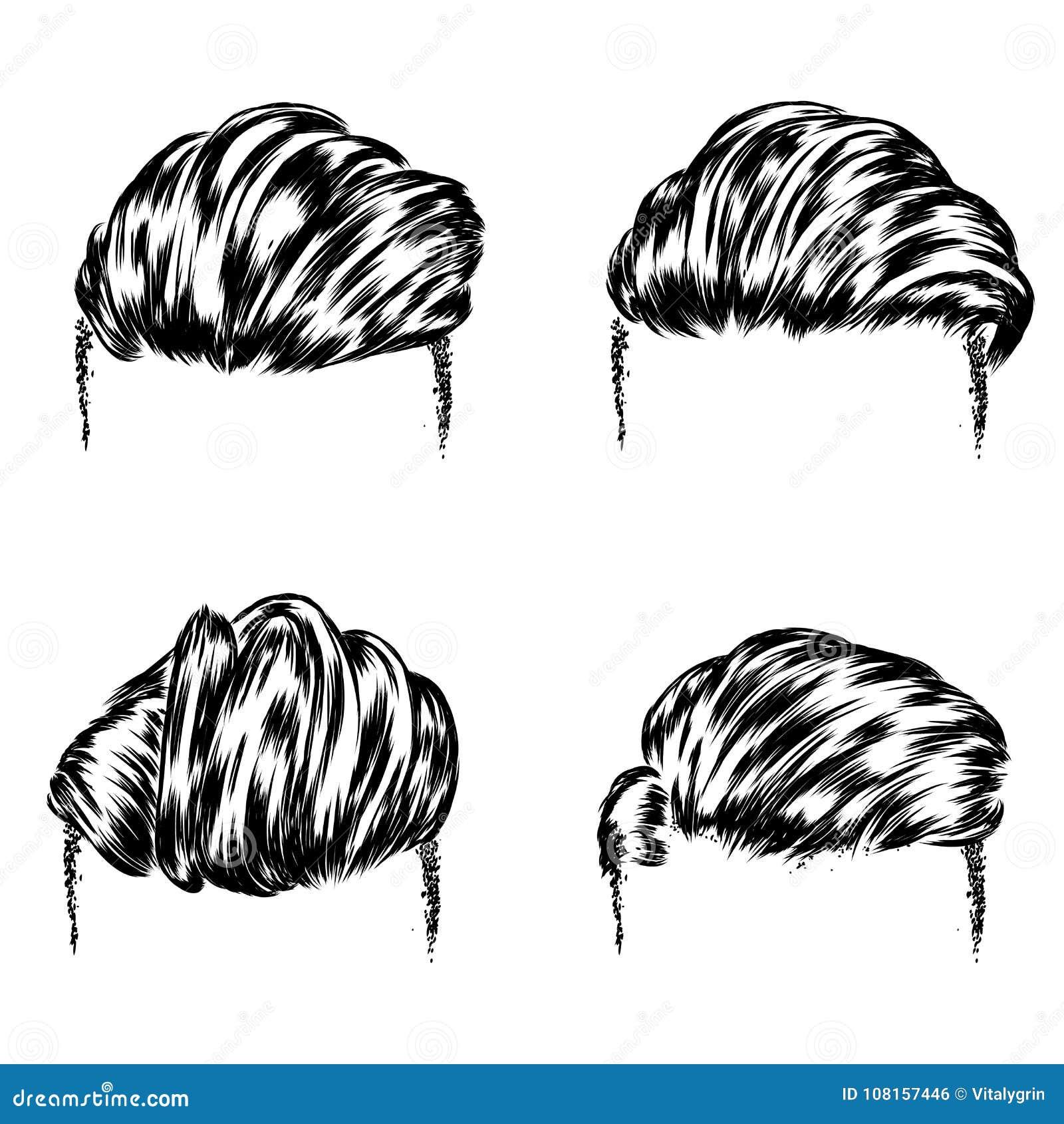 Ein Satz Männer S Frisuren Proben Von Haarschnitten Und