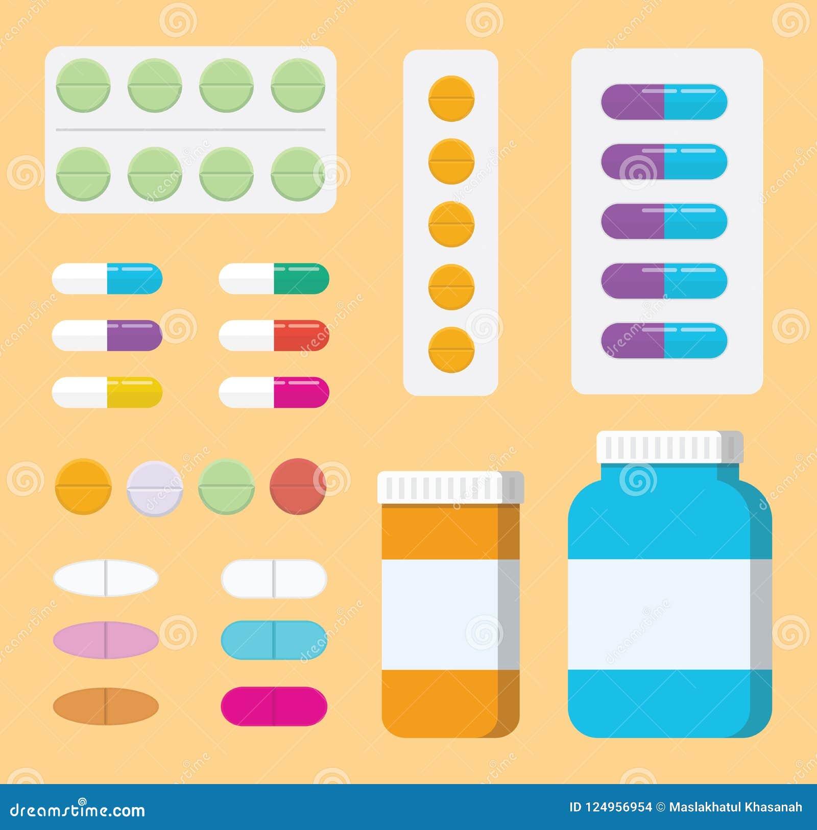 Ein Satz Sammlungspillenmedizin oder medizinisches Gesundheitswesen mit Flasche und Tablette