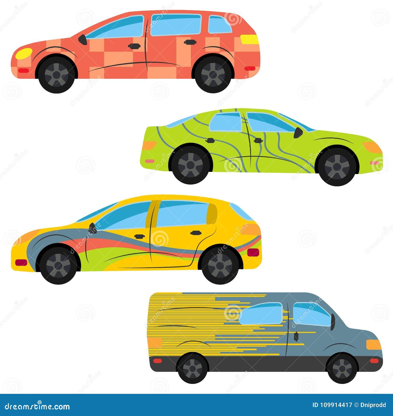 Ein Satz Von Vier Autos Gemalt In Den Verschiedenen Farben