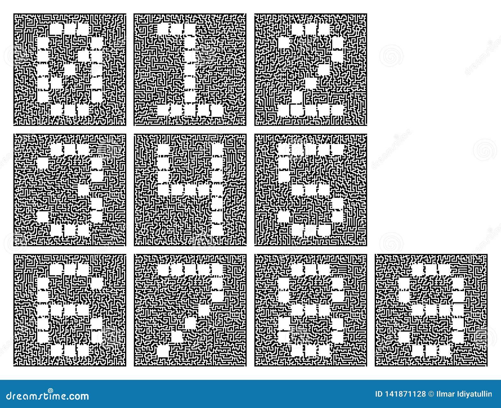 Ein Satz Ziffern Stilisierte Zahlen innerhalb eines komplexen Labyrinths