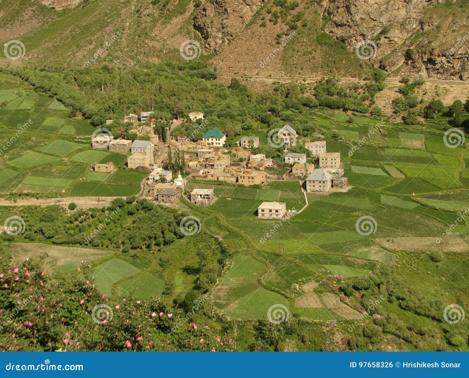 Ein schönes Dorf in den Tälern, Ladakh, Indien