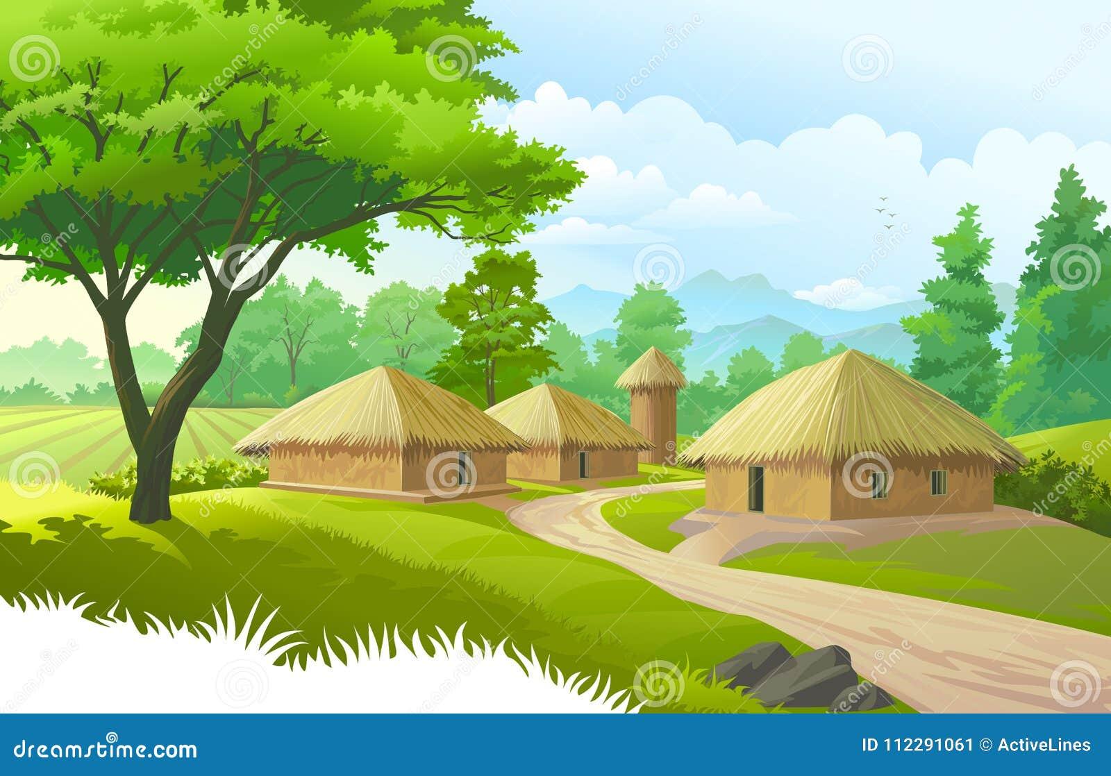 Ein schönes Dorf mit Ackerland, Bäume, Wiesen und mit Bergen im Hintergrund
