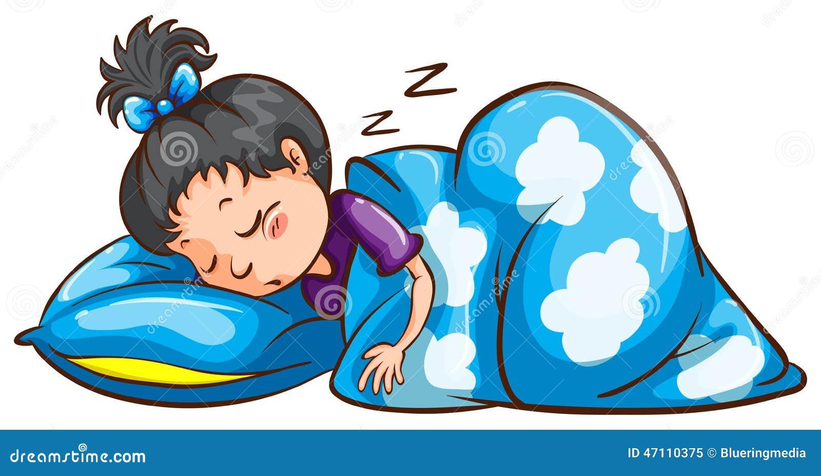 ein schlafen des jungen m dchens vektor abbildung bild 47110375. Black Bedroom Furniture Sets. Home Design Ideas