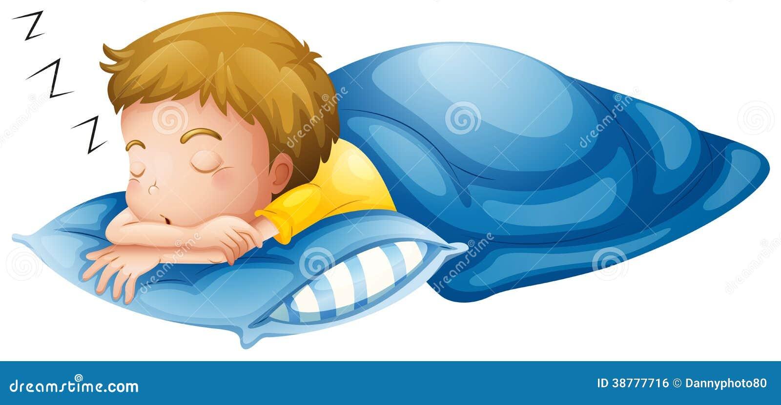 Ein Schlafen Des Kleinen Jungen Vektor Abbildung ...