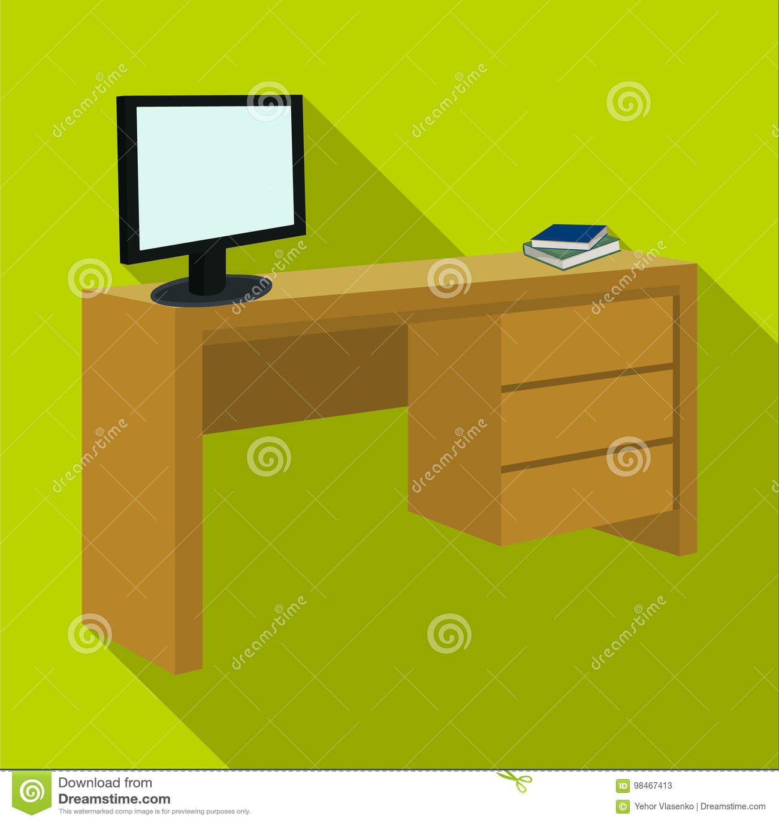 Ein Schreibtisch Mit Einem Computer Und Büchern Möbel Und Einzelne