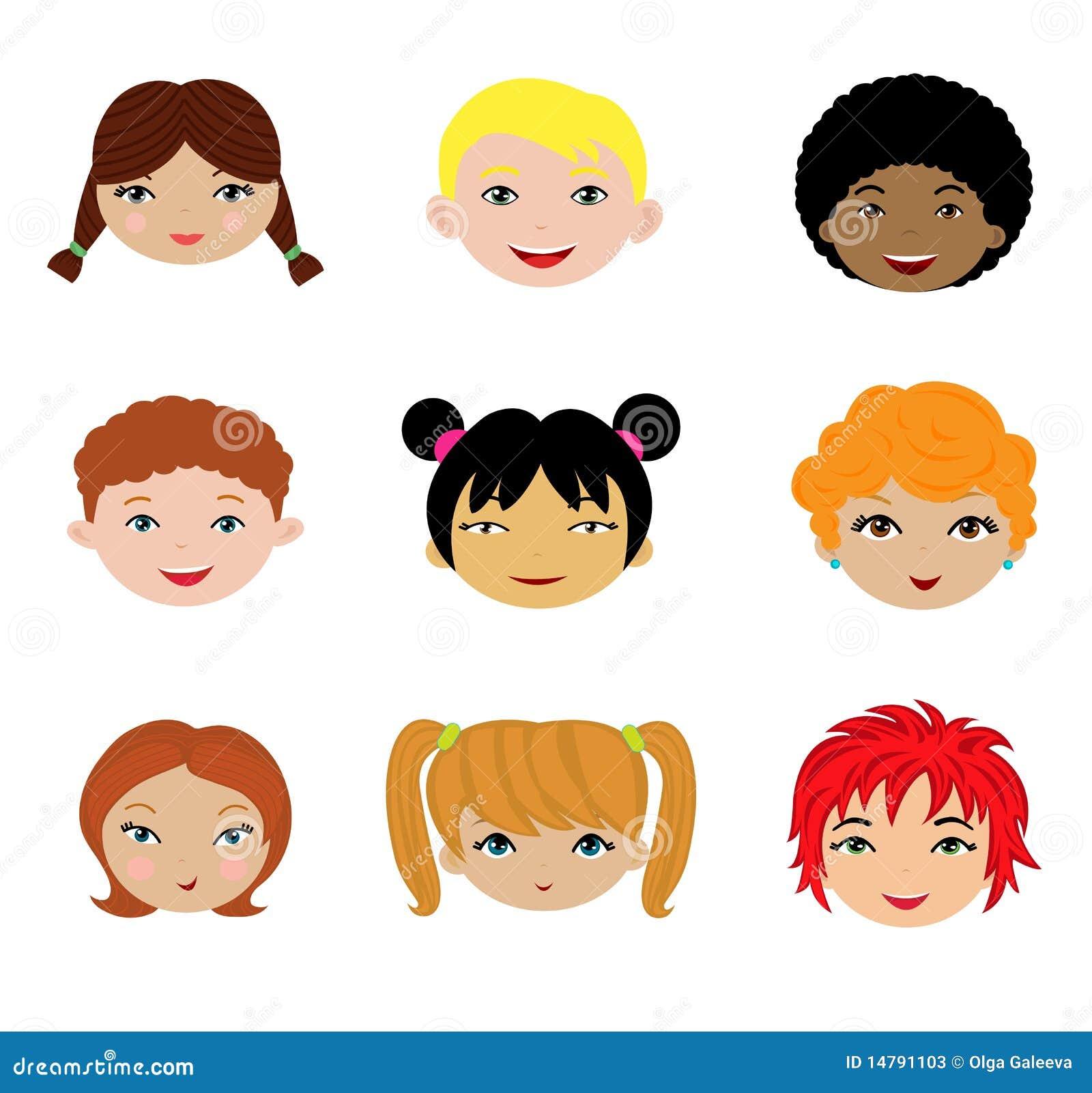 Ein Set verschiedene Kindgesichter