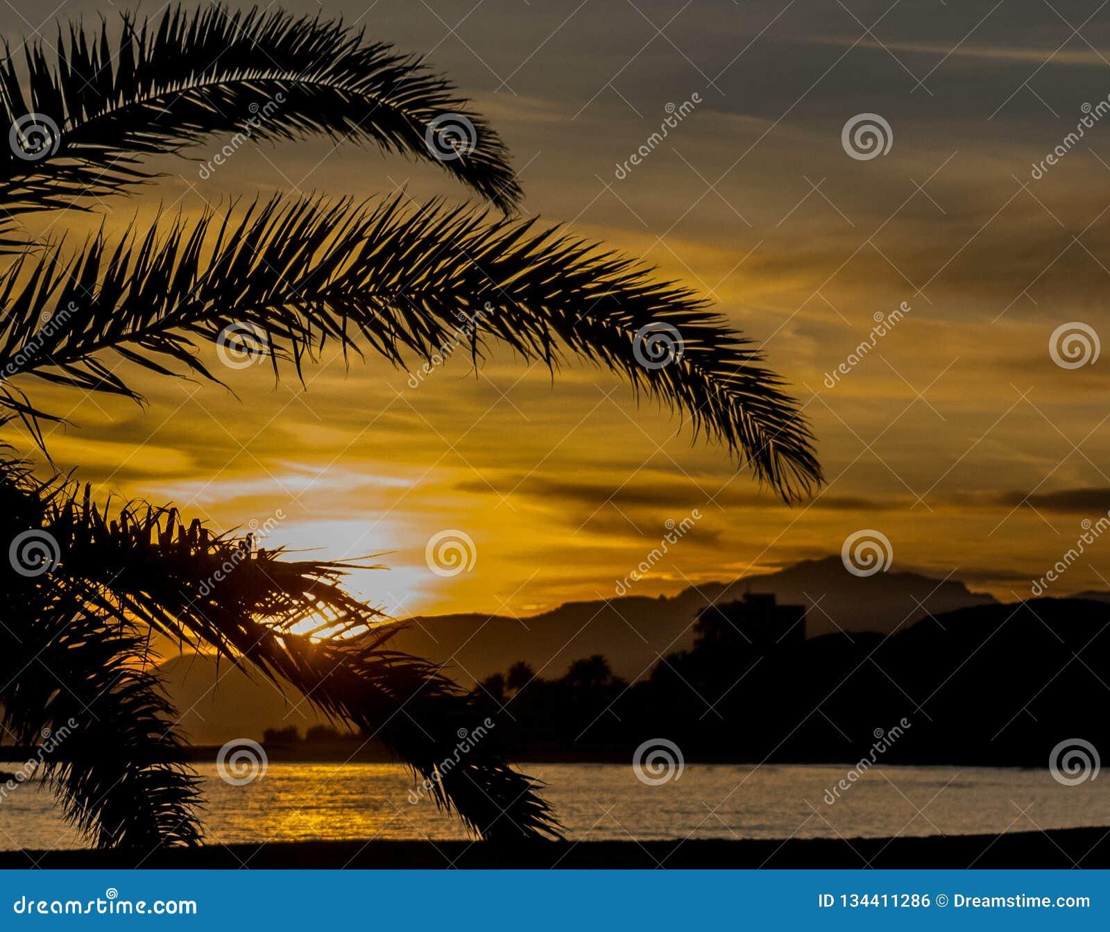 Ein Sonnenuntergang in einem Cambrils-Strand Palmevision