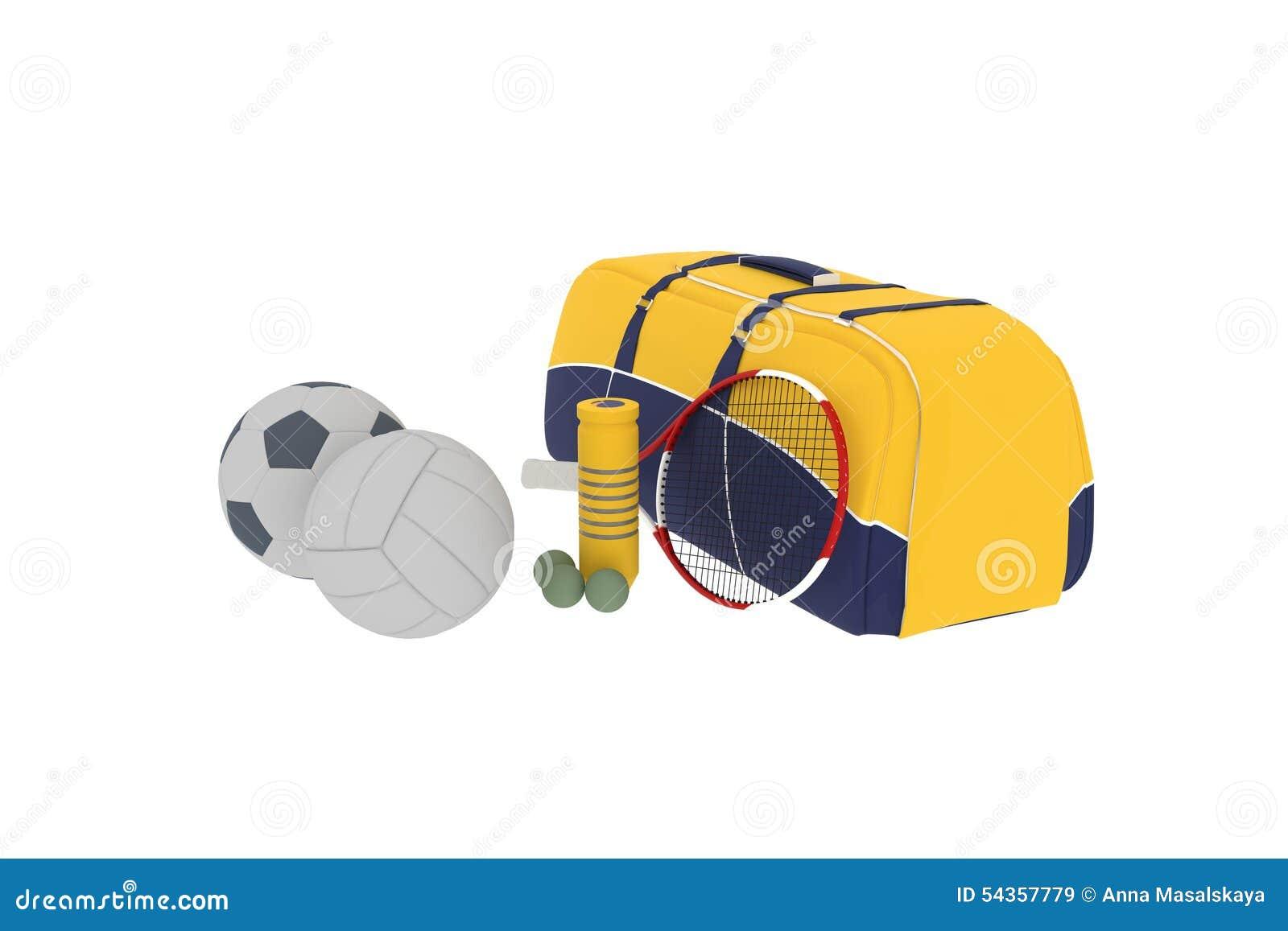Ein Sportsatz ist eine Tasche und Bälle