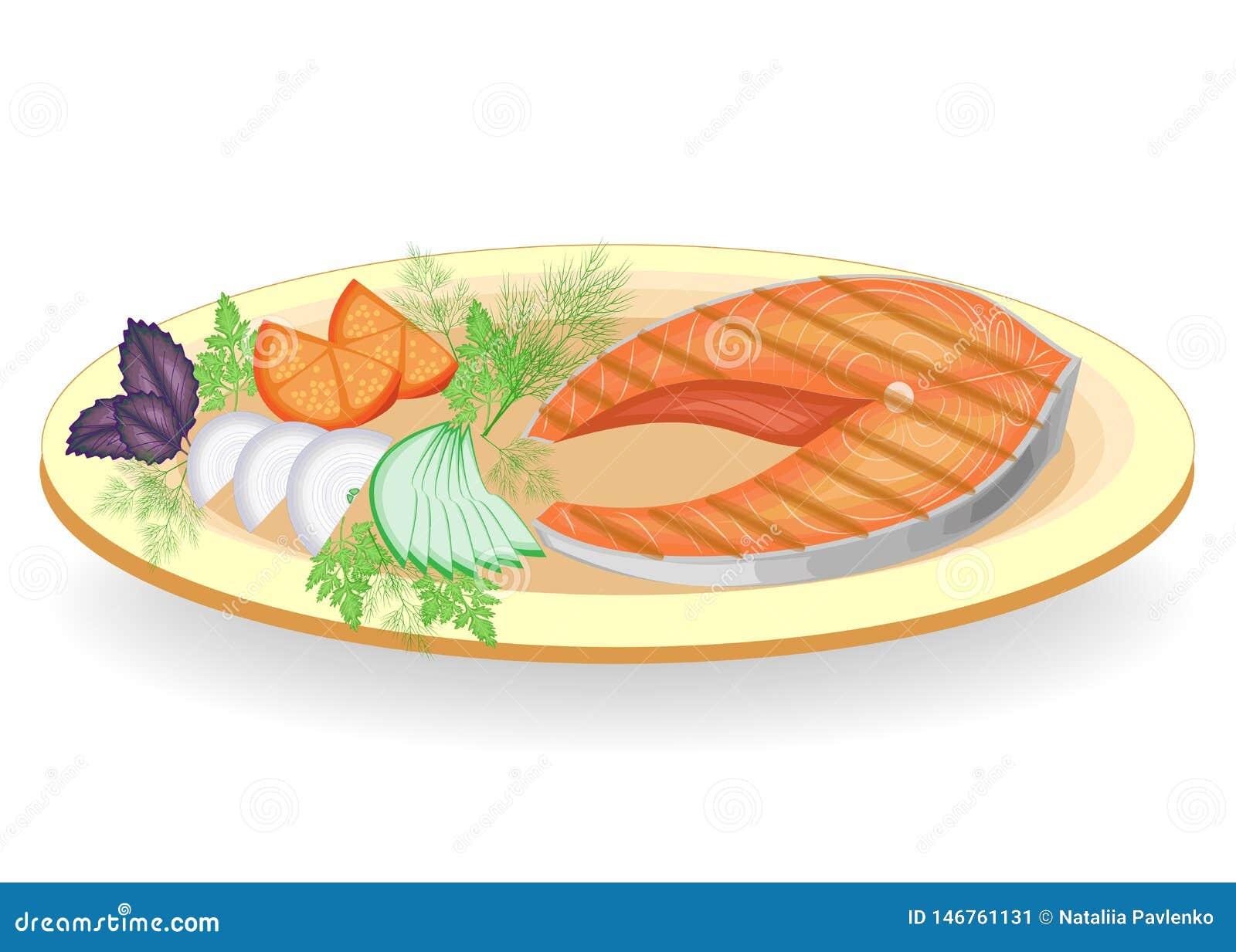 Ein Steak von den roten Fischen gegrillt auf einer Platte Schm?cken Sie die Gurke Tomate, Zwiebel, Petersilie, Dill und Basilikum