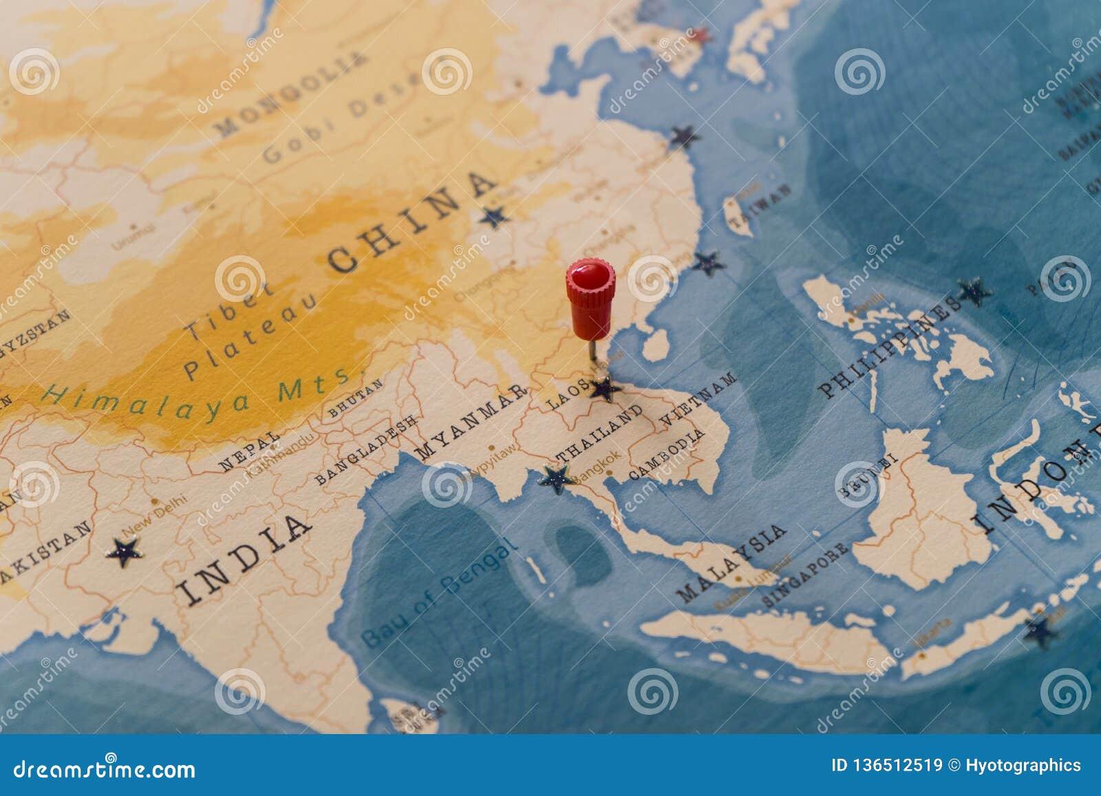 Ein Stift von einer Karte von Hanoi, Vietnam