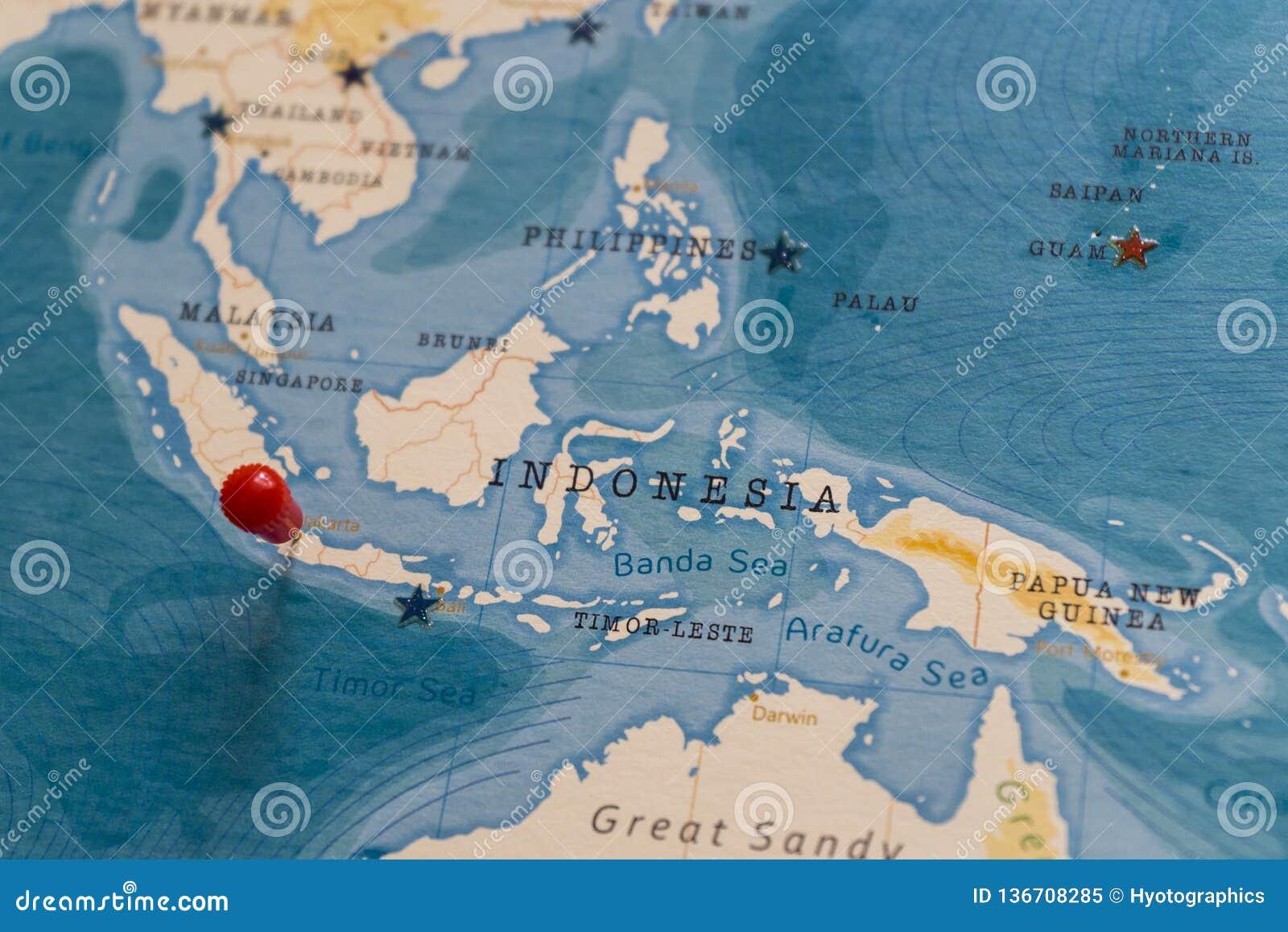 Ein Stift Von Jakarta Indonesien In Der Weltkarte Stockbild