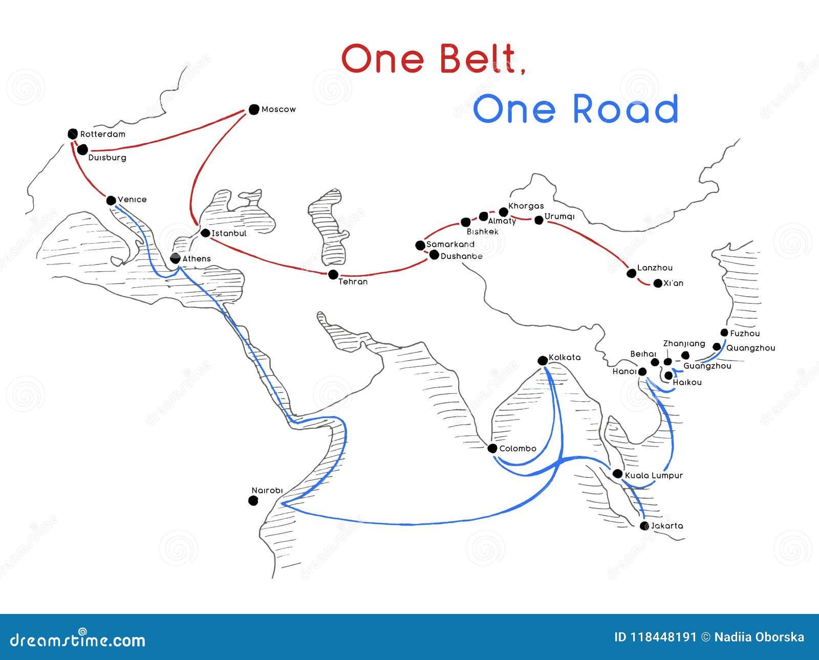 Ein Straßen-neues Seidenstraßekonzept des Gurt-einer Zusammenhang und Zusammenarbeit des 21. Jahrhunderts zwischen eurasischen Lä
