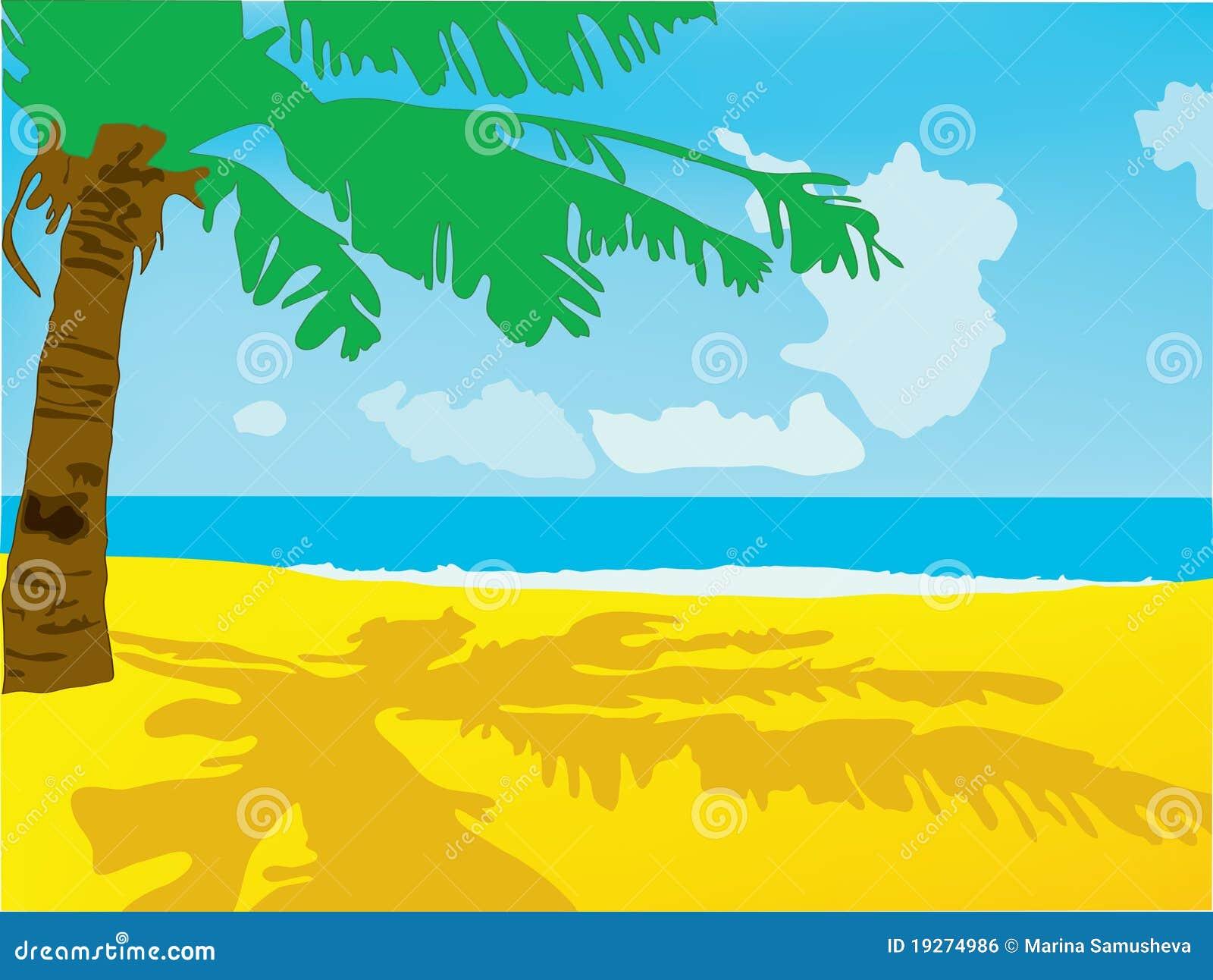 ein strand mit dem meer und einer palme vektor abbildung