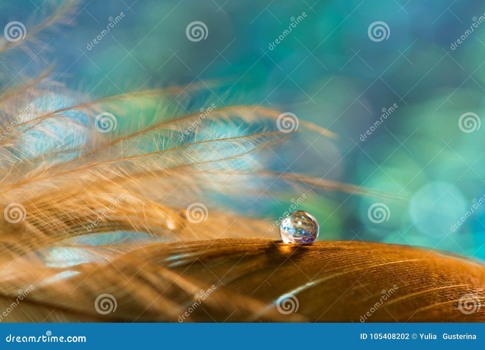 Ein Tropfen auf der goldenen Feder des Vogels auf einem Smaragdhintergrund Schönes stilvolles Makro