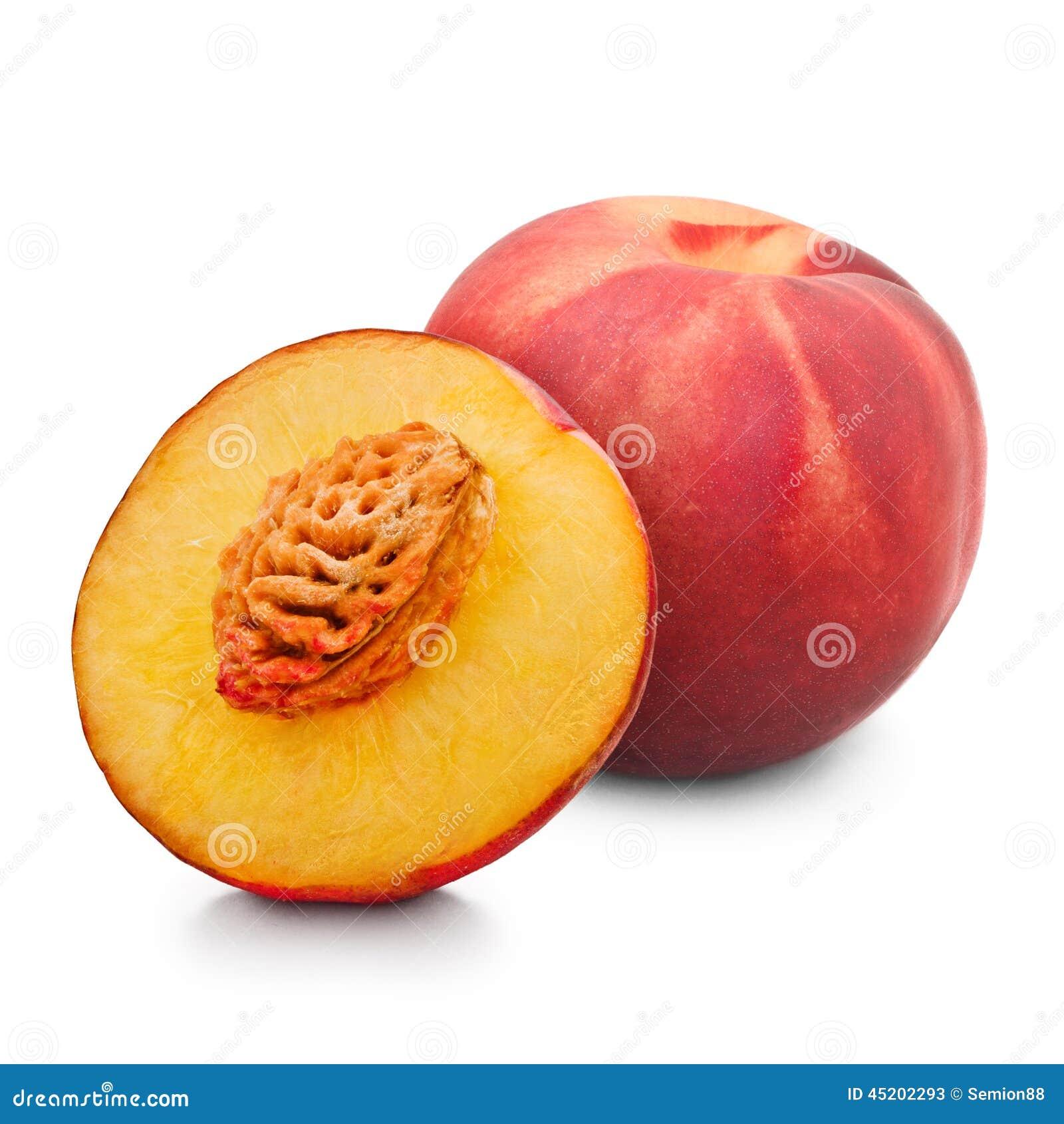 ein und halb roter pfirsich lokalisiert auf wei stockbild bild 45202293. Black Bedroom Furniture Sets. Home Design Ideas