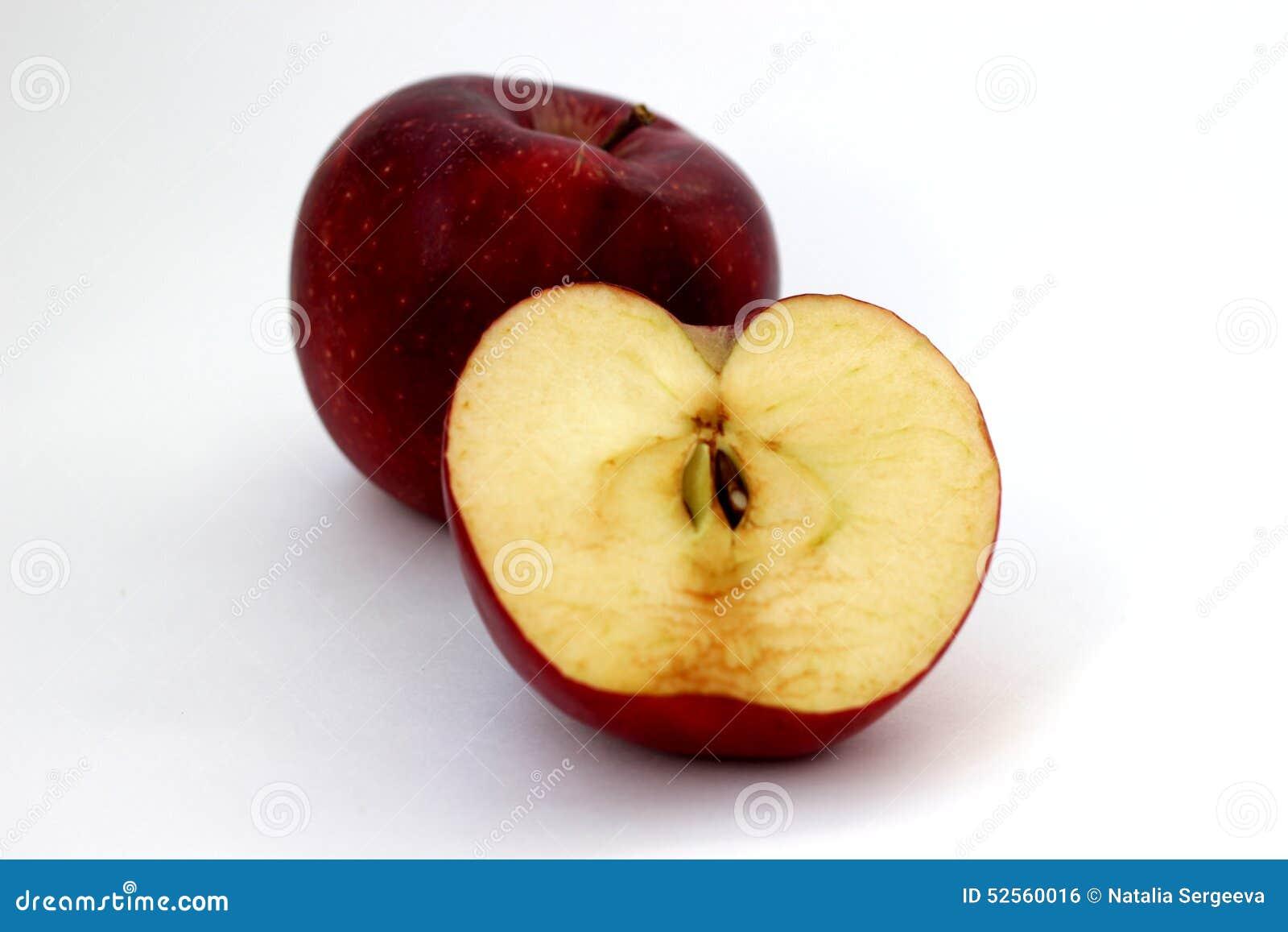 Ein und halbe Äpfel