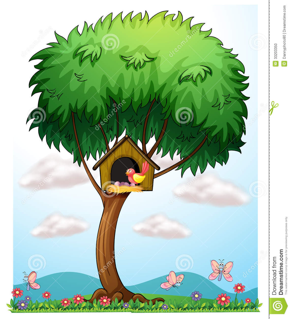 ein vogel in einem baum mit einem vogelhaus vektor abbildung illustration von betriebe gr n. Black Bedroom Furniture Sets. Home Design Ideas