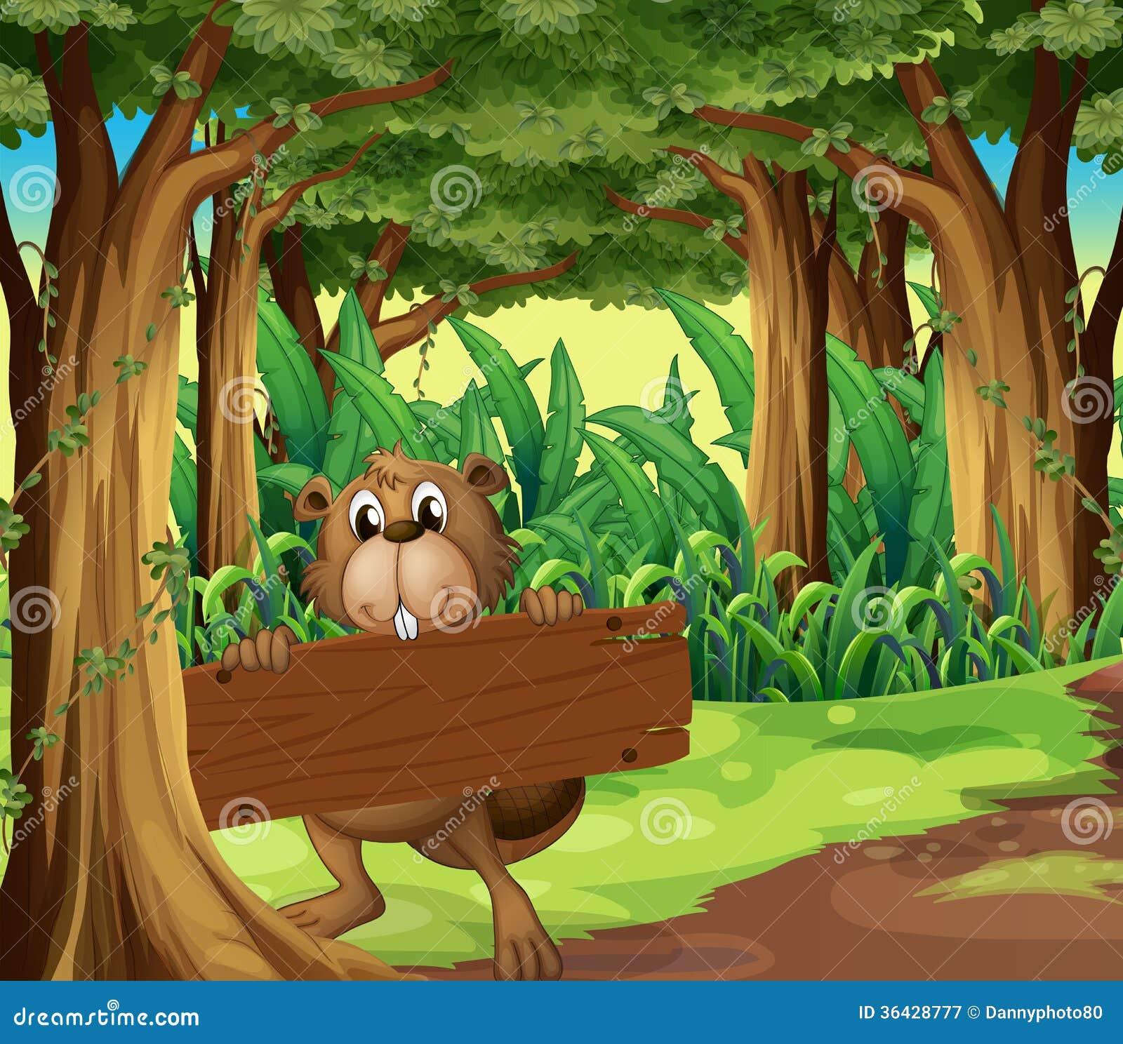 Ein Wald mit einem Biber, der ein leeres Brett unter dem Baum hält