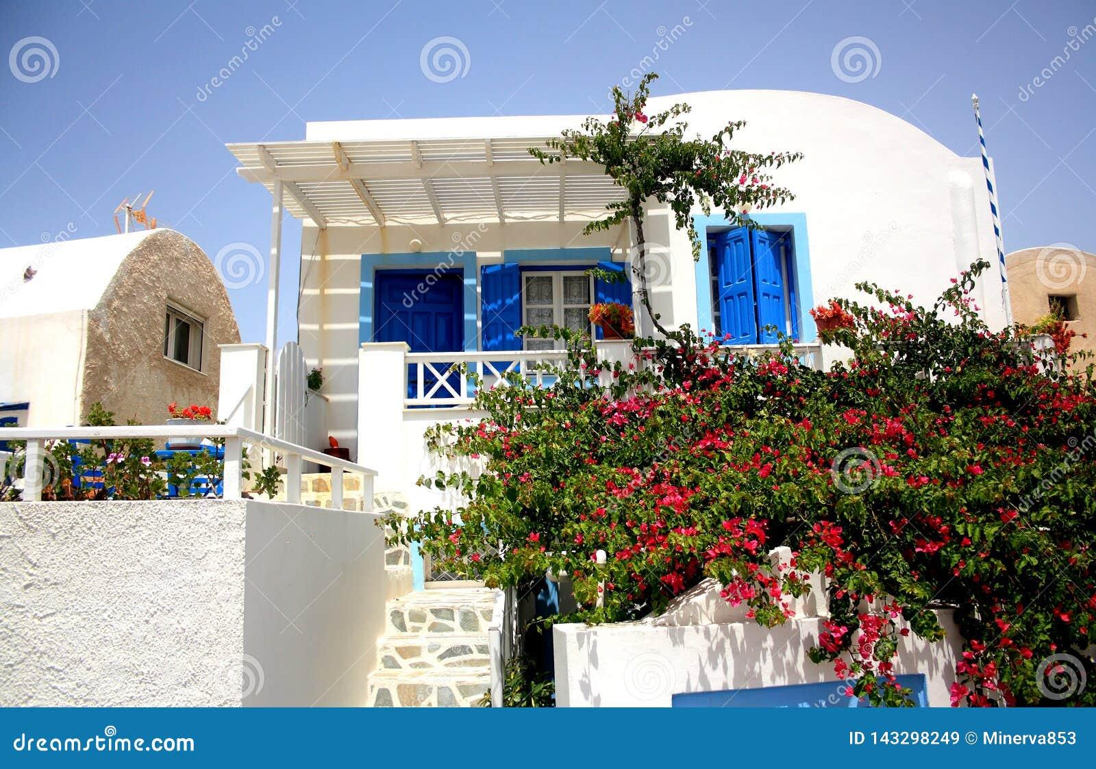 Ein weißes Haus mit blauen gemalten Türen und Fensterrahmen und Busch mit Blumen auf der vorderen Szene in Santorini-Insel