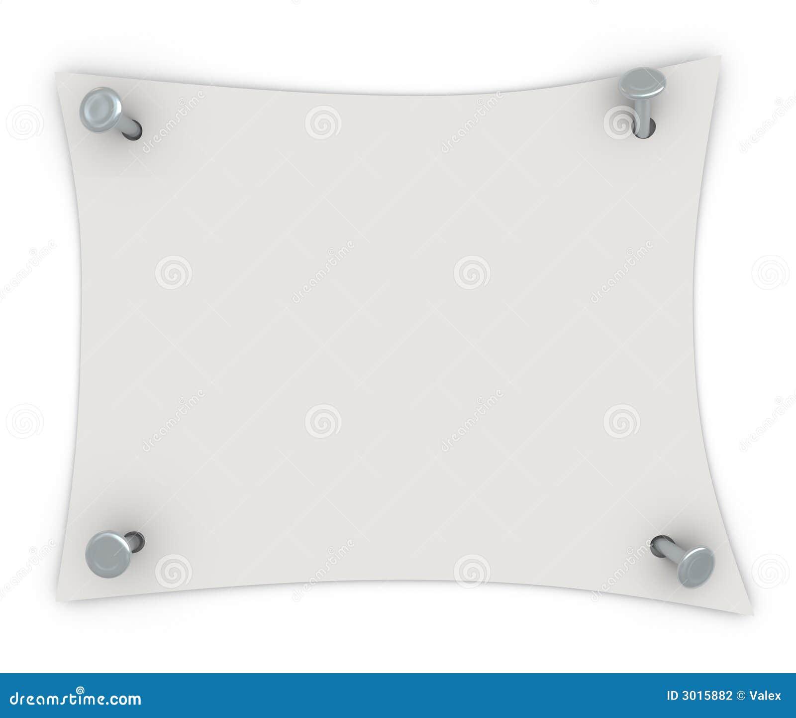 ein wei es blatt papier mit n geln stockfotografie bild 3015882. Black Bedroom Furniture Sets. Home Design Ideas