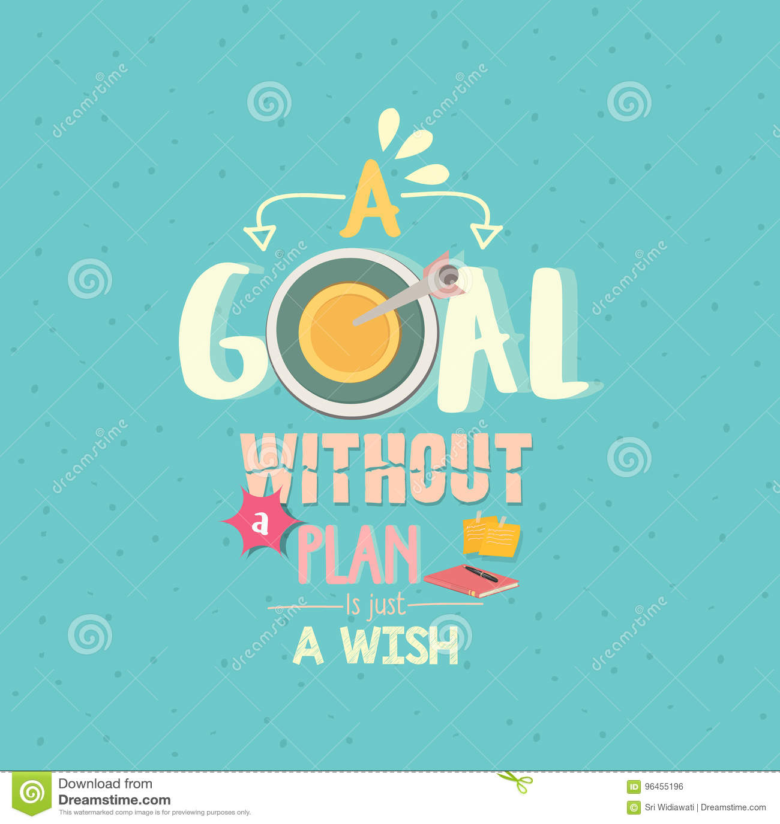 Ein Ziel ohne einen Plan ist gerade ein Wunschzitat-Wortplakat
