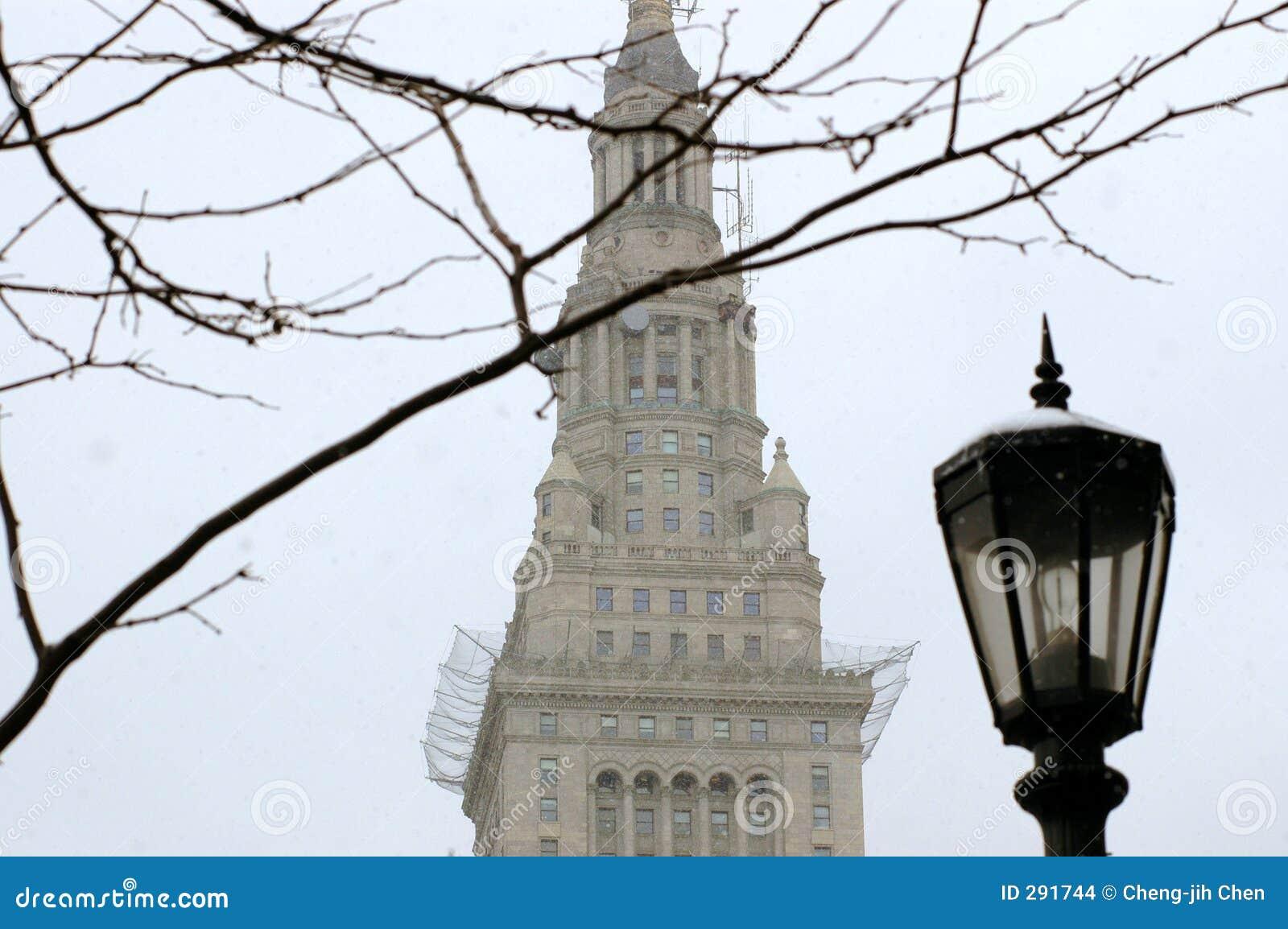 Eind Toren in Cleveland tijdens de Winter