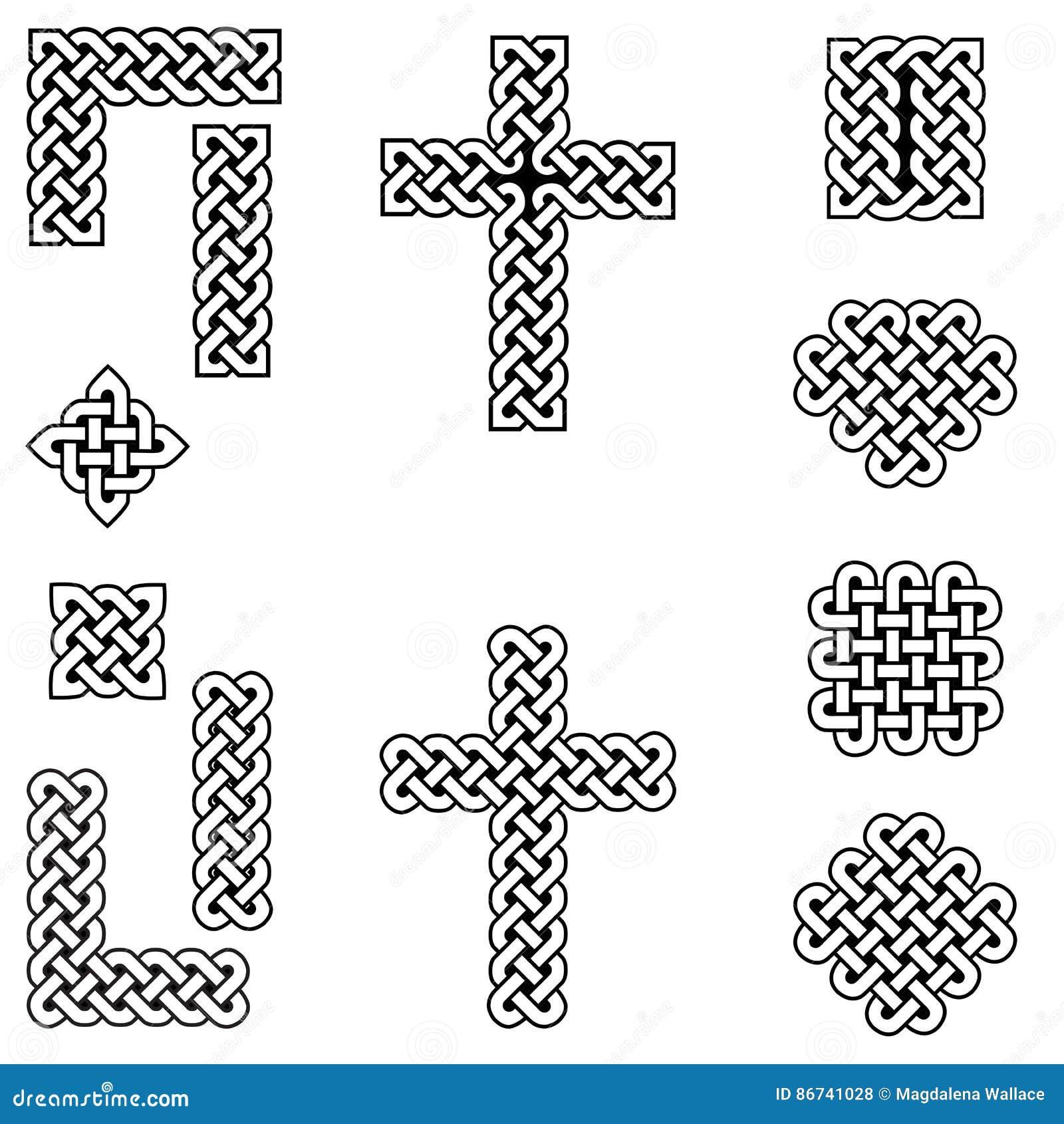 Eindeloze knoopsymbolen in Keltische stijl met inbegrip van grens, lijn, hart, dwars, curvy vierkanten in wit, met het zwarte vul