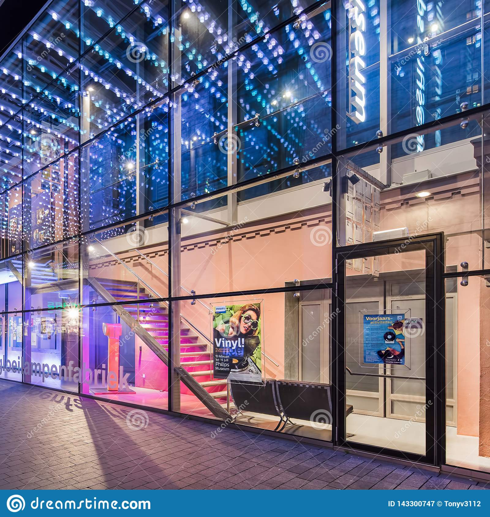 Illuminated Facade Of The Philips Museum In Eindhoven, The