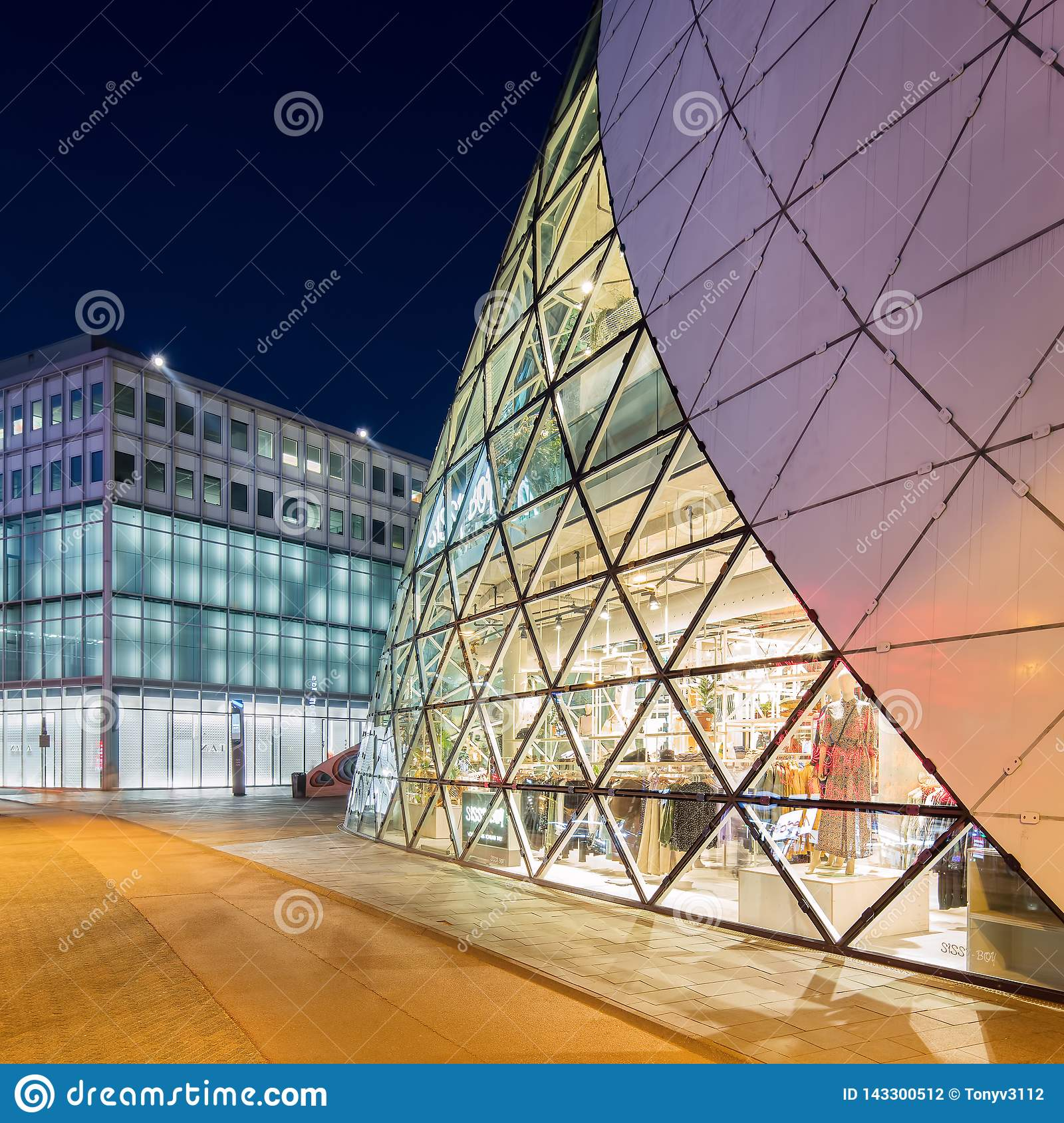 Organic shaped blob building in Eindhoven center at twilight, The Netherlands