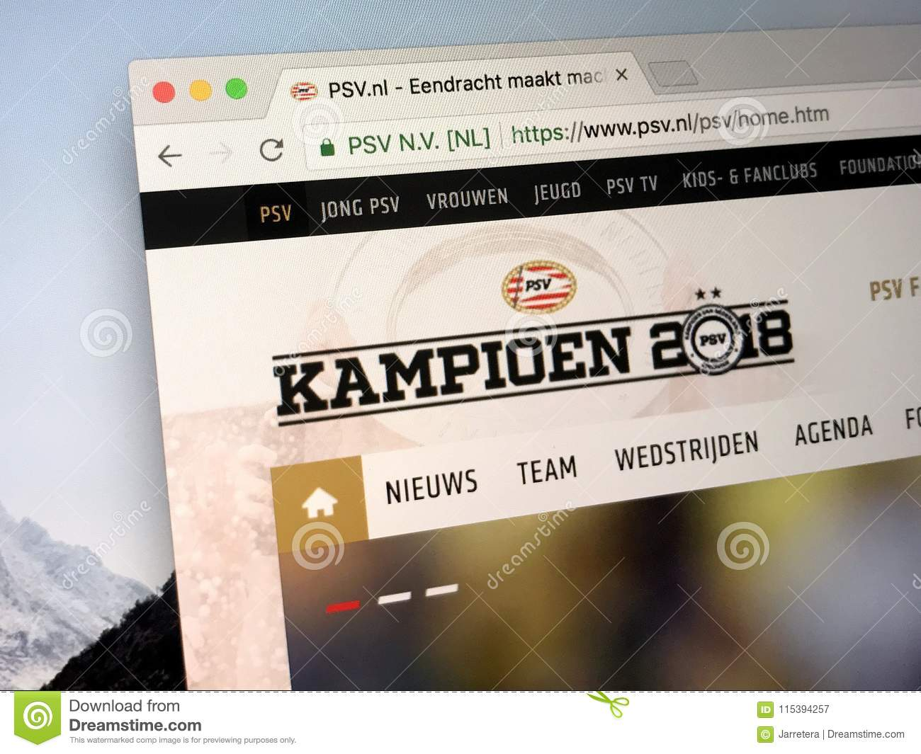 8f4c8b1c6f3 Eindhoven, The Netherlands - March 27, 2018: Homepage of Philips Sports  Union Dutch: The Philips Sport Vereniging , abbreviated as PSV and  internationally ...