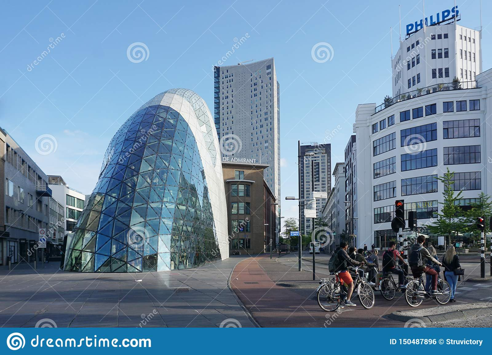 Eindhoven, The Netherlands - May 26, 2019: Business city center of Eindhoven. Modern buildings and facilities