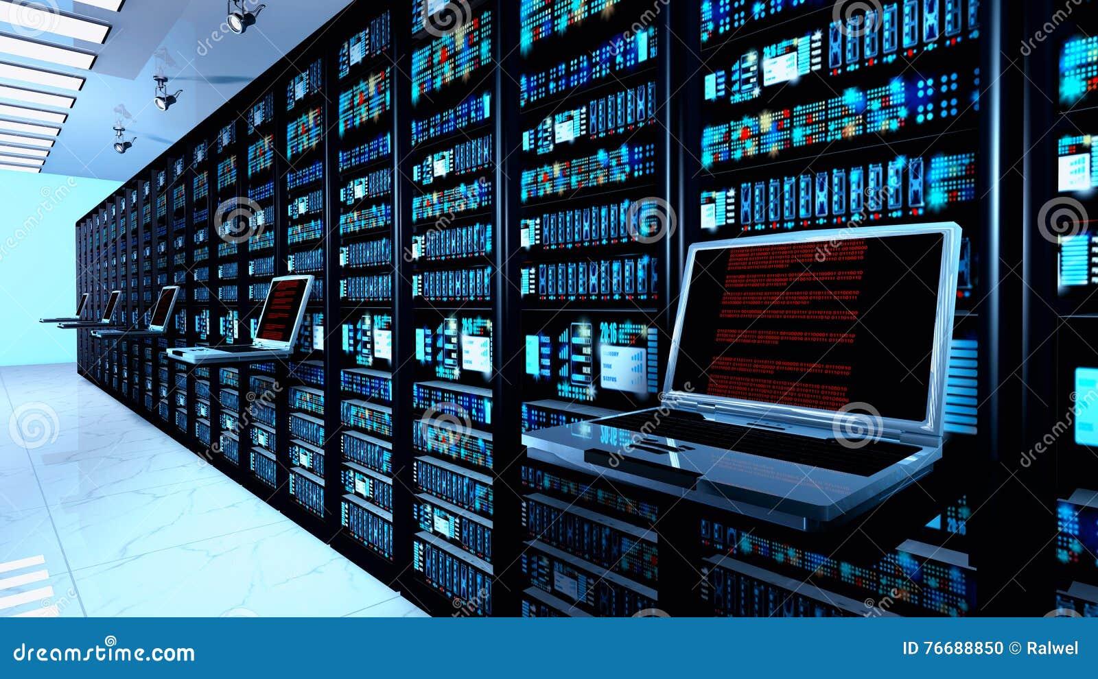 Eindmonitor in serverruimte met serverrekken in datacenterbinnenland