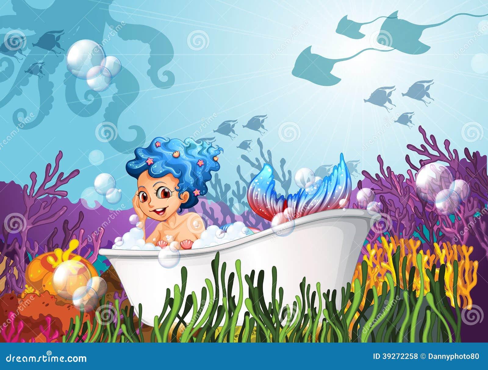 Eine badewanne unter dem meer mit einer meerjungfrau - Badewanne nixe ...