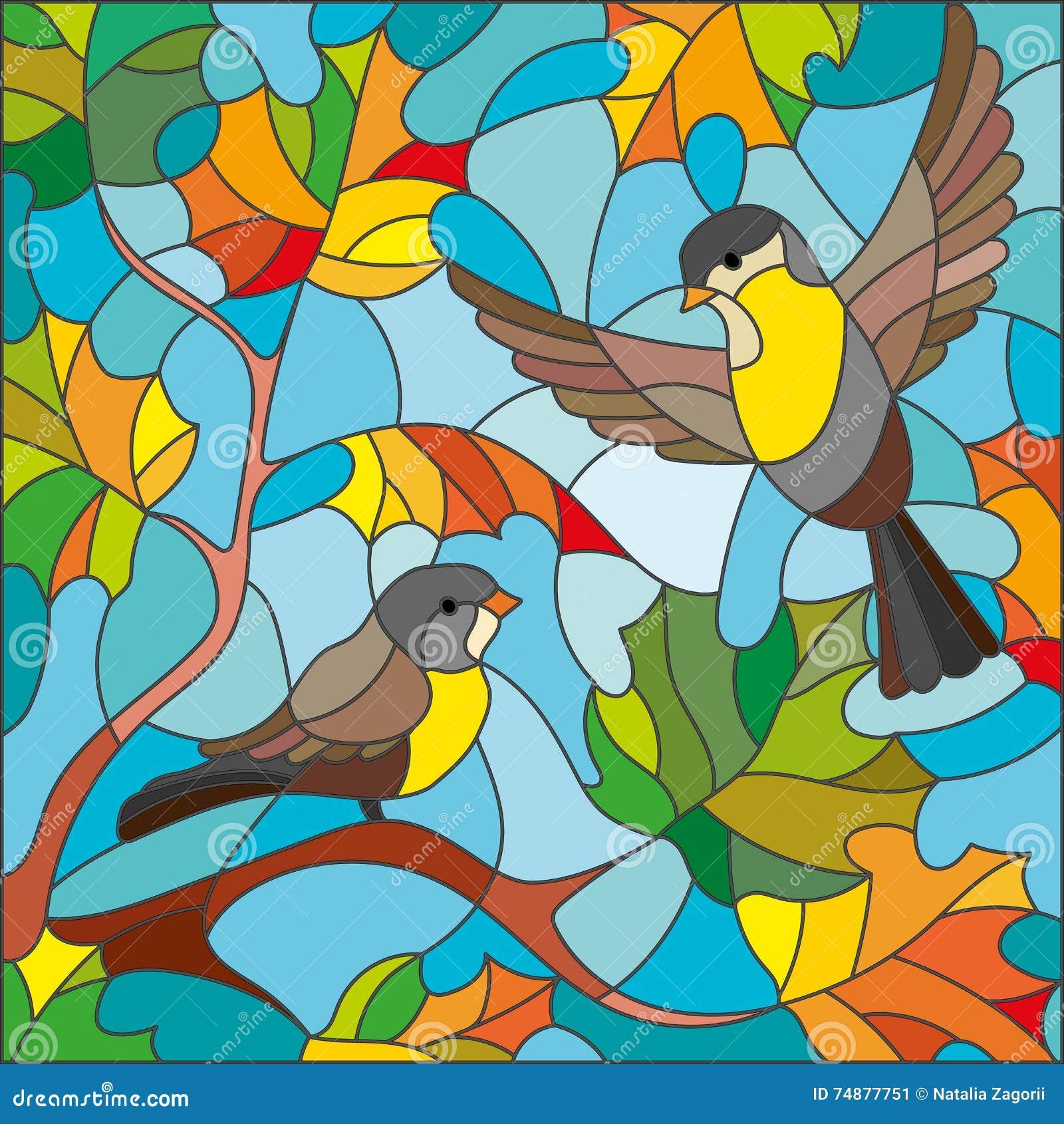 Eine Buntglasillustration auf dem Thema des Herbstes, zwei Meisen und gelb gefärbte Ahornblätter