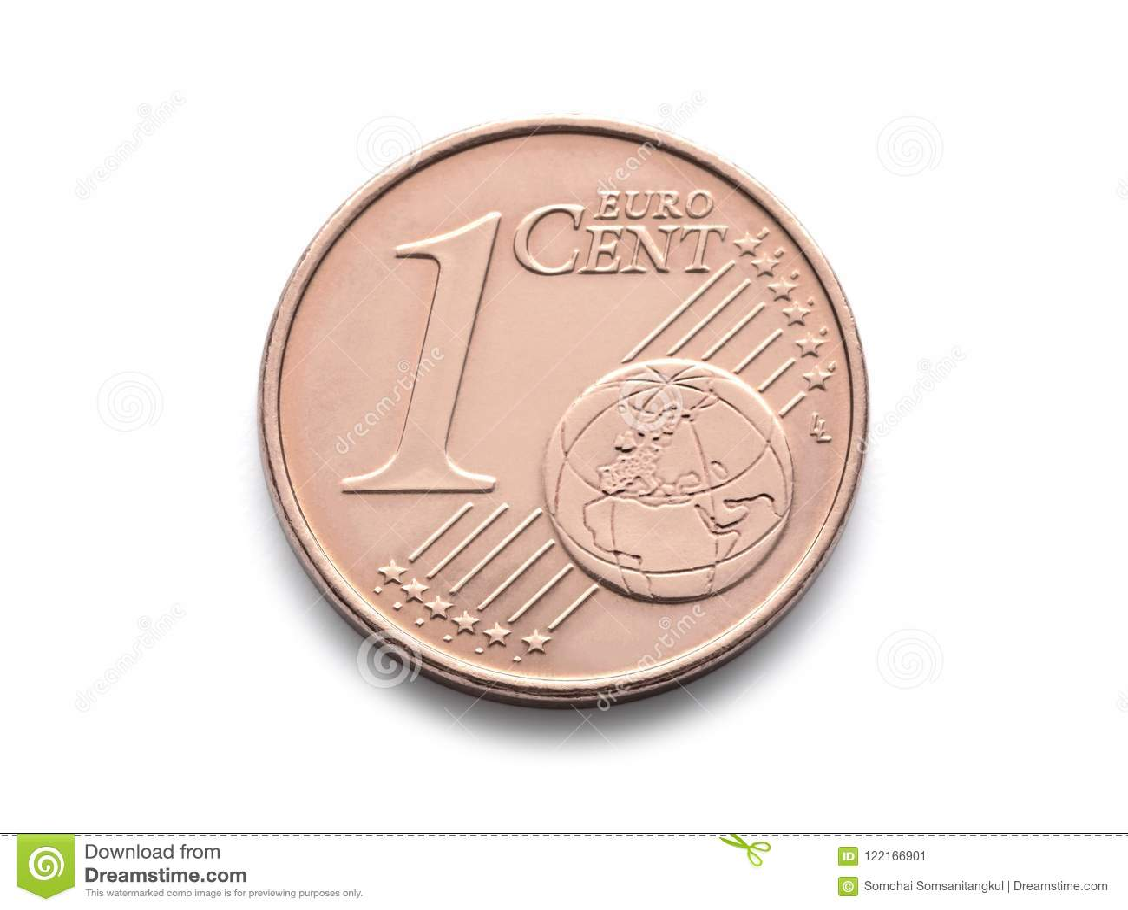 Eine Cent-Euromünze 1 Centeuromünzenisolat auf weißem Hintergrund
