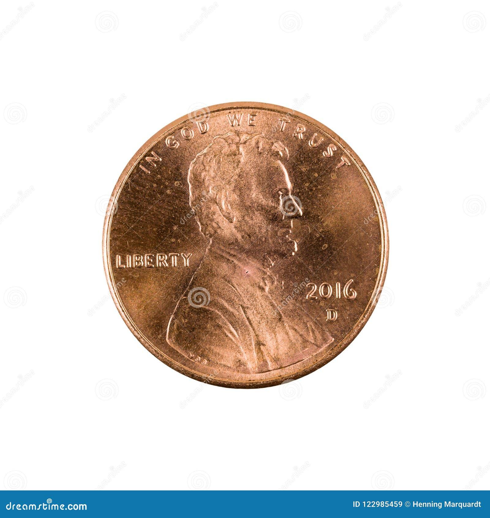Eine Centmünze 2016 Vereinigter Staaten lokalisiert