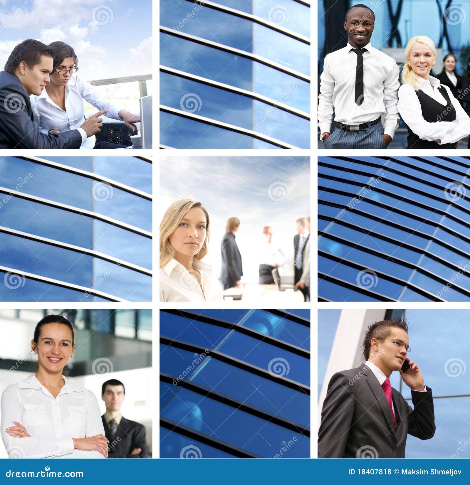 Eine Collage der Geschäftsbilder mit jungen Leuten