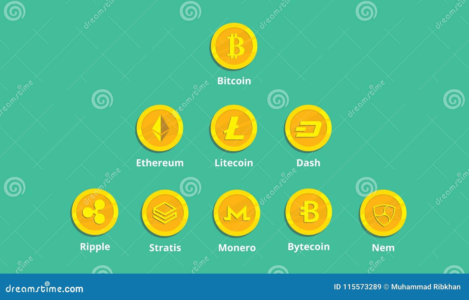 Eine cryptocurrency Wahl-Logoikone mit Goldmünzgeld
