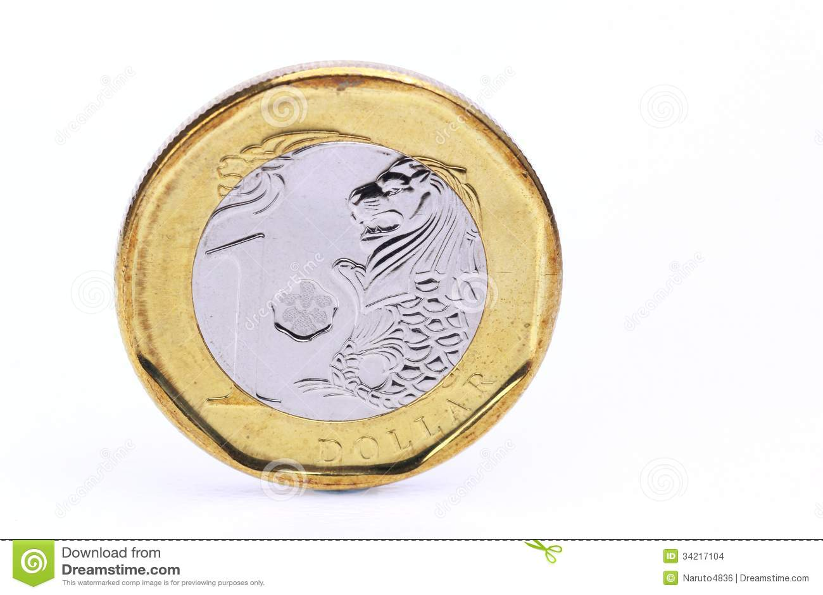Eine Dollar Singapur Münze Stock Abbildung Illustration Von Dollar