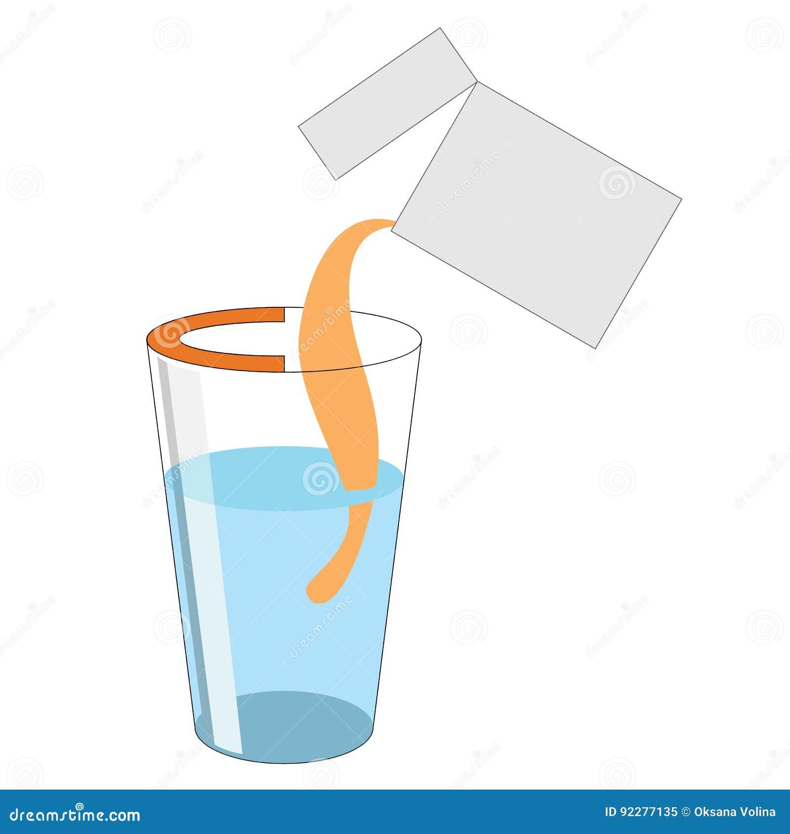 Eine Dosis des Pulvers mit Vitamin C wird aus dem Paket int heraus gegossen