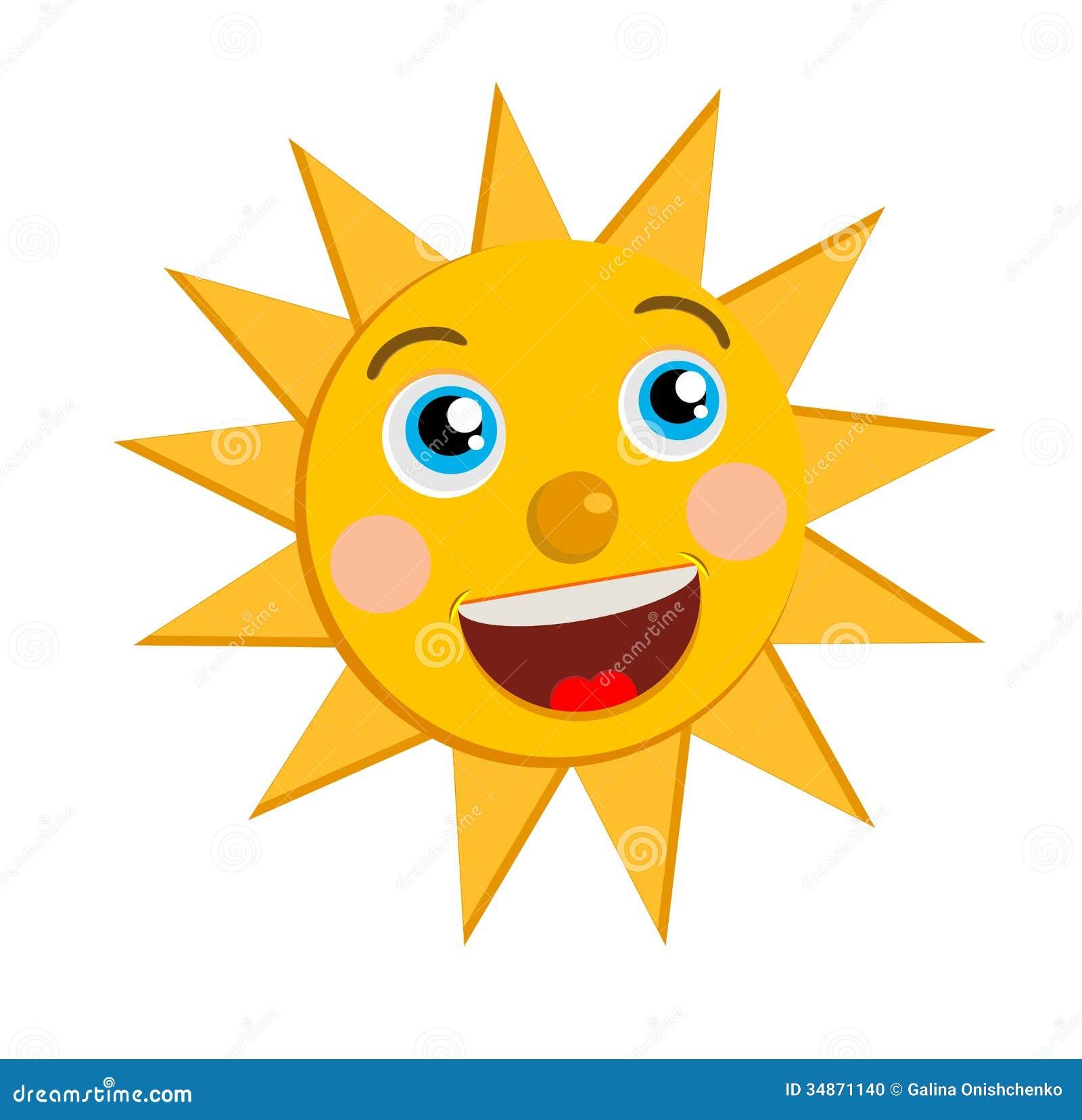 Eine Fröhliche Sonne Auf Einem Weißen Hintergrund Vektor Abbildung ...