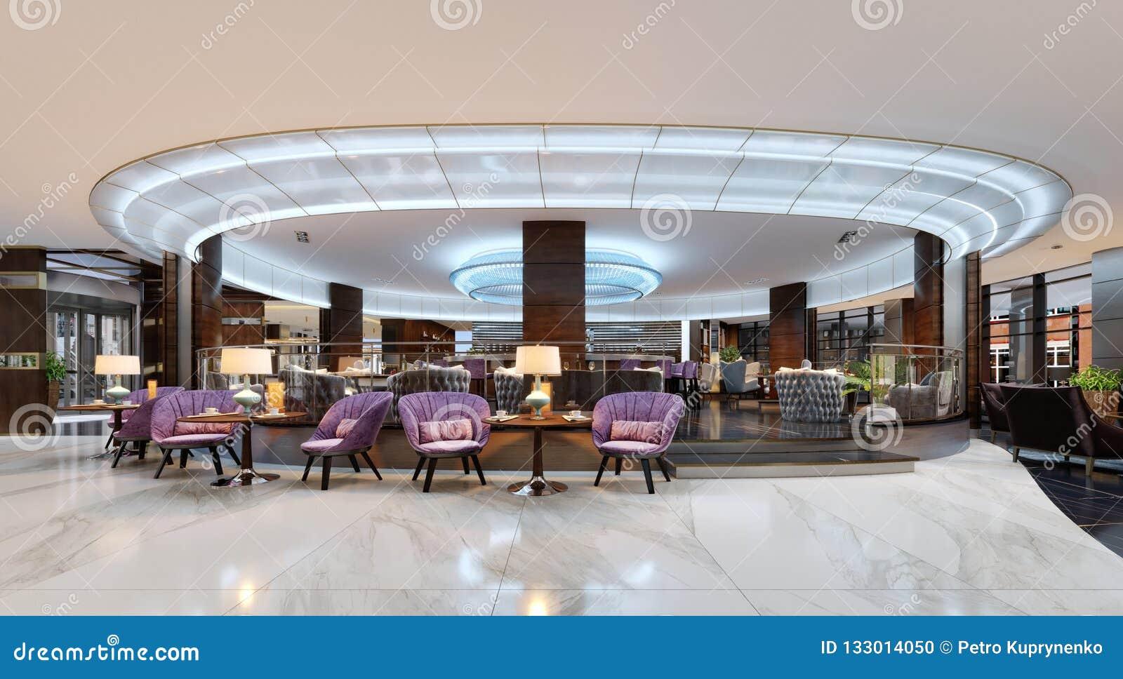 Eine gemütliche Cafeteria in der Lobby mit bequemem gepolstertem Stuhl