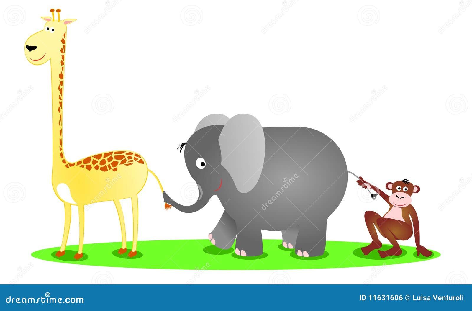 eine giraffe ein elefant und ein schimpanse in einer. Black Bedroom Furniture Sets. Home Design Ideas