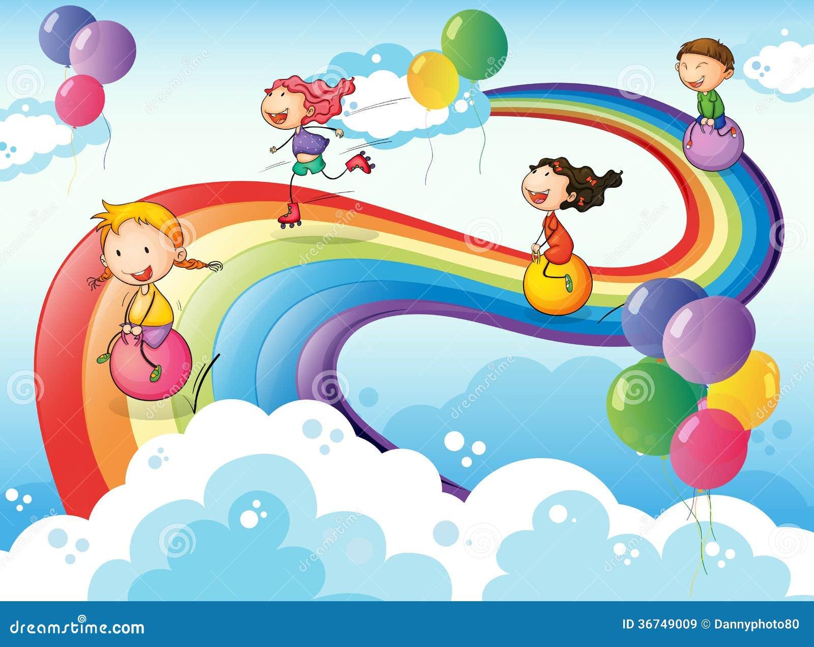 eine gruppe kinder die am himmel mit einem regenbogen