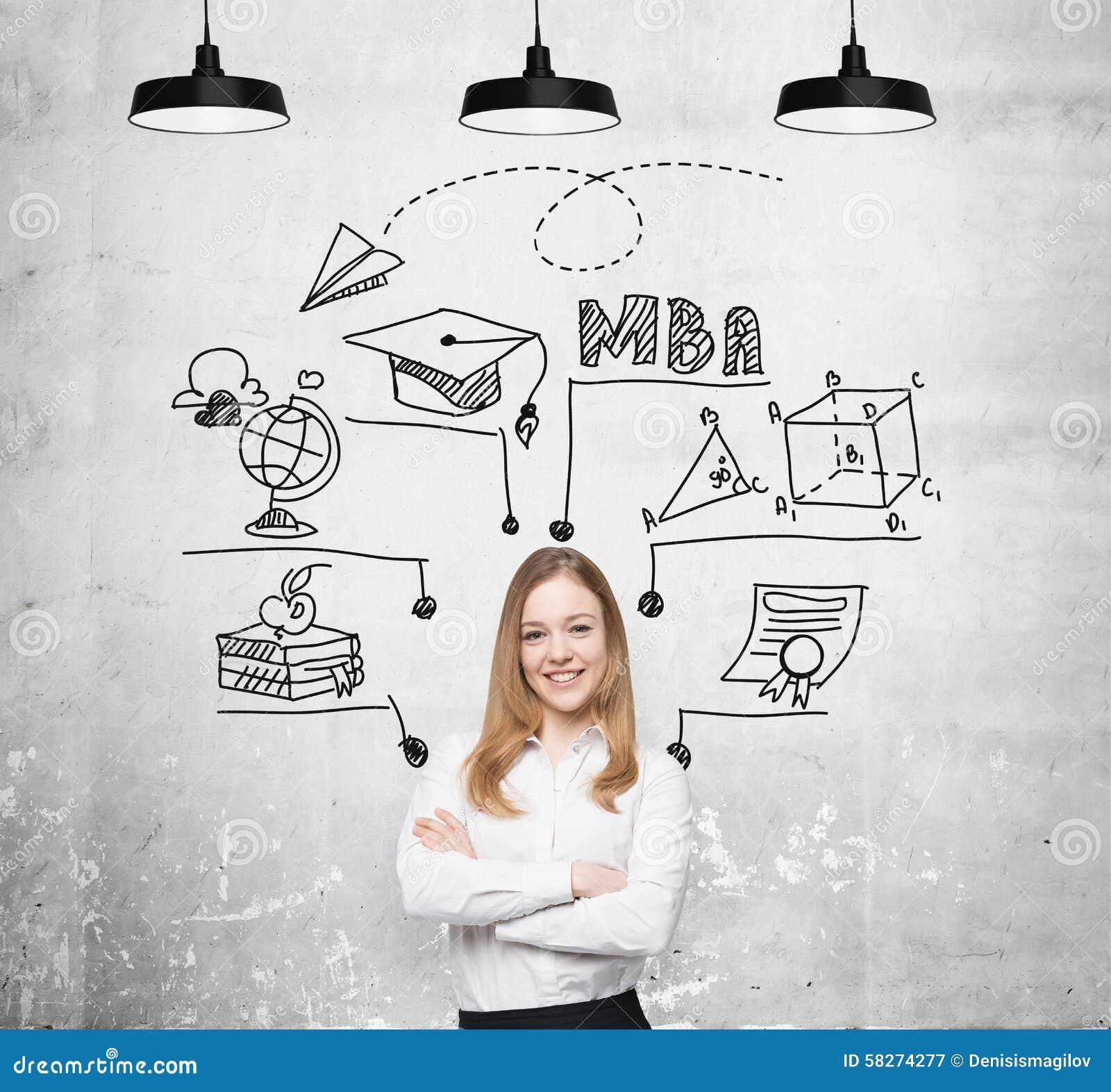Eine junge lächelnde Dame denkt an MBA-Grad Pädagogisches Diagramm wird hinter sie gezeichnet Ein Konzept der Bildung der weitere